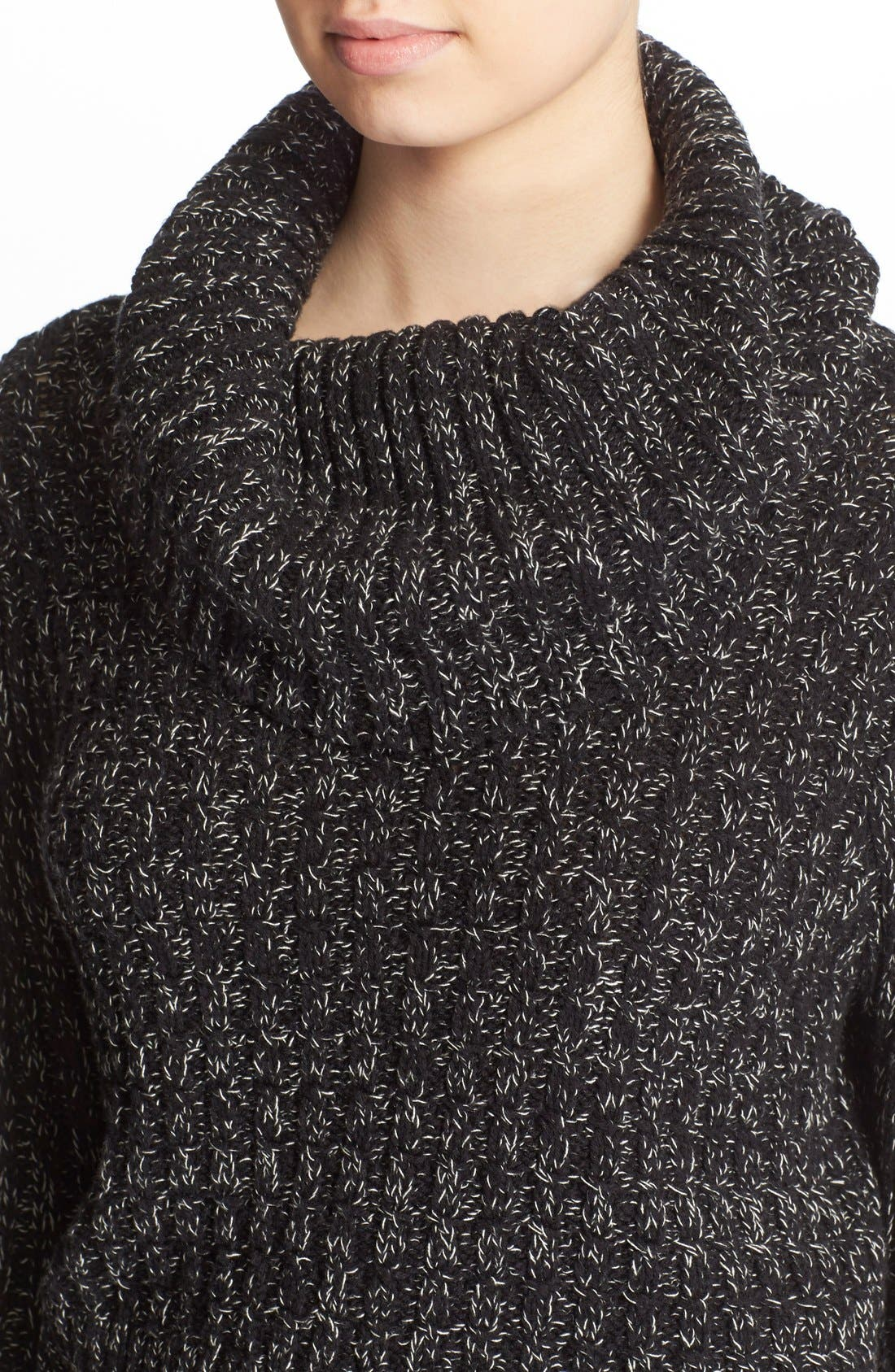 'Twisted Cable' Turtleneck Sweater,                             Alternate thumbnail 2, color,                             001