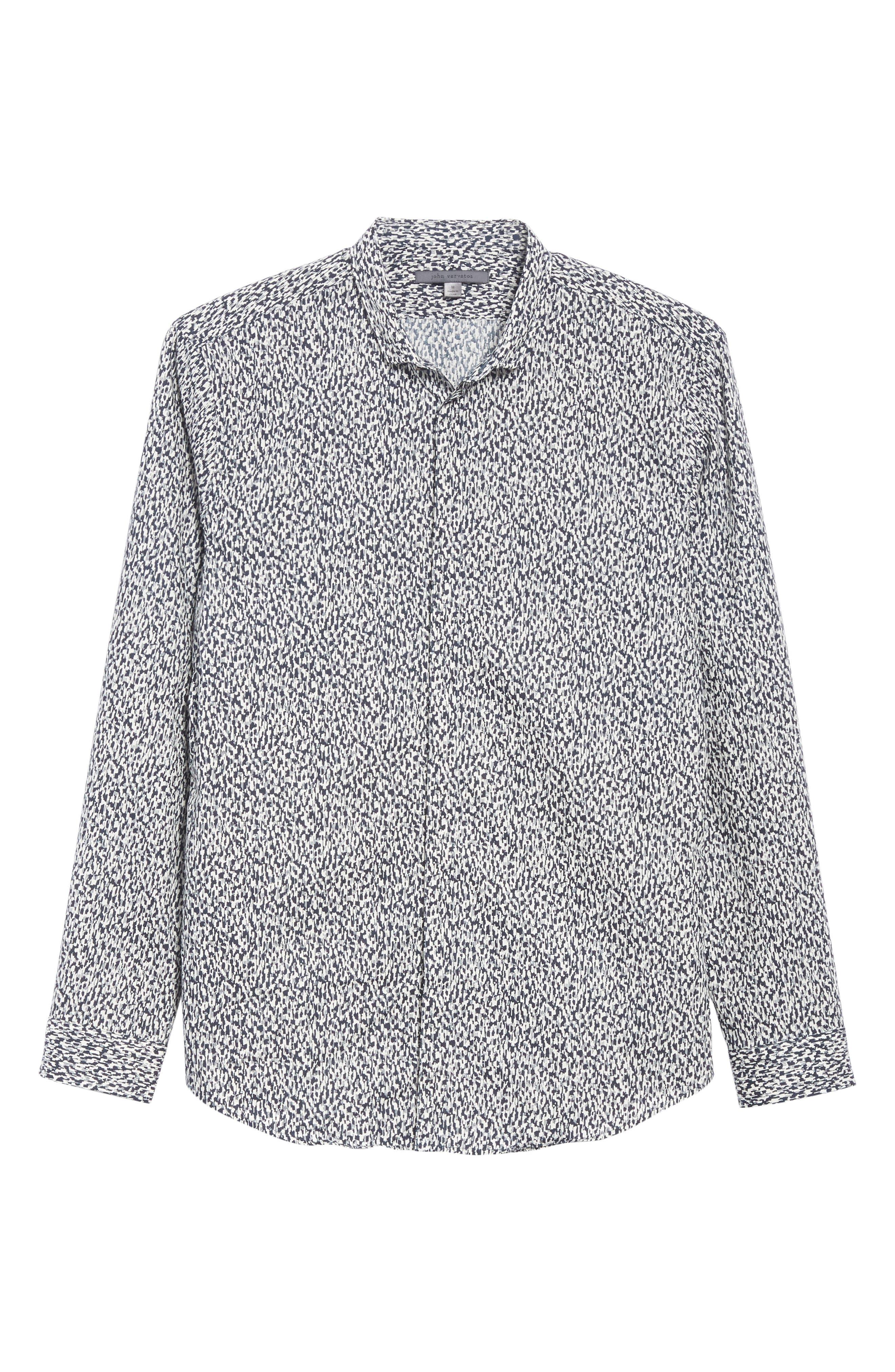 Slim Fit Print Sport Shirt,                             Alternate thumbnail 6, color,                             BLACK/WHITE