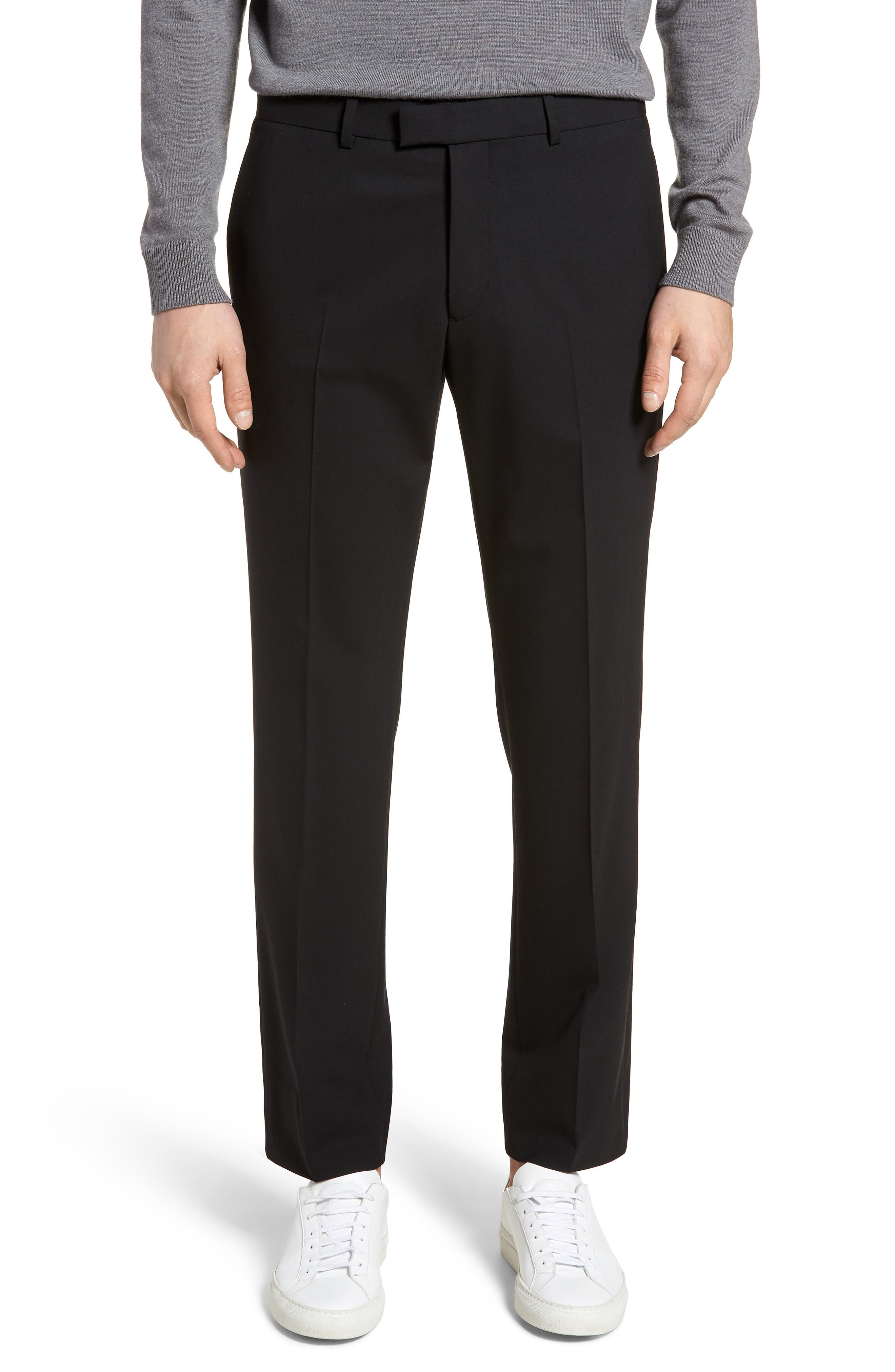 Marlo Flat Front Stretch Wool Pants,                         Main,                         color, 001