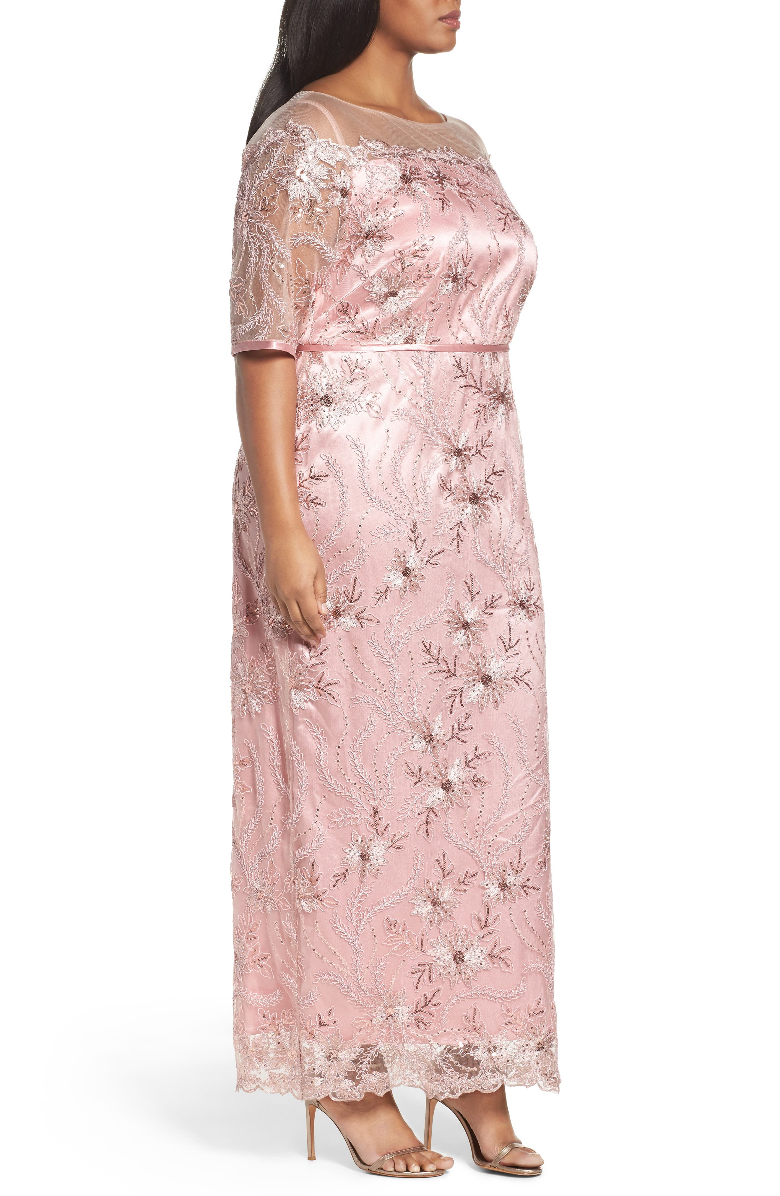 Embellished Gown,                             Alternate thumbnail 3, color,                             PALE PINK