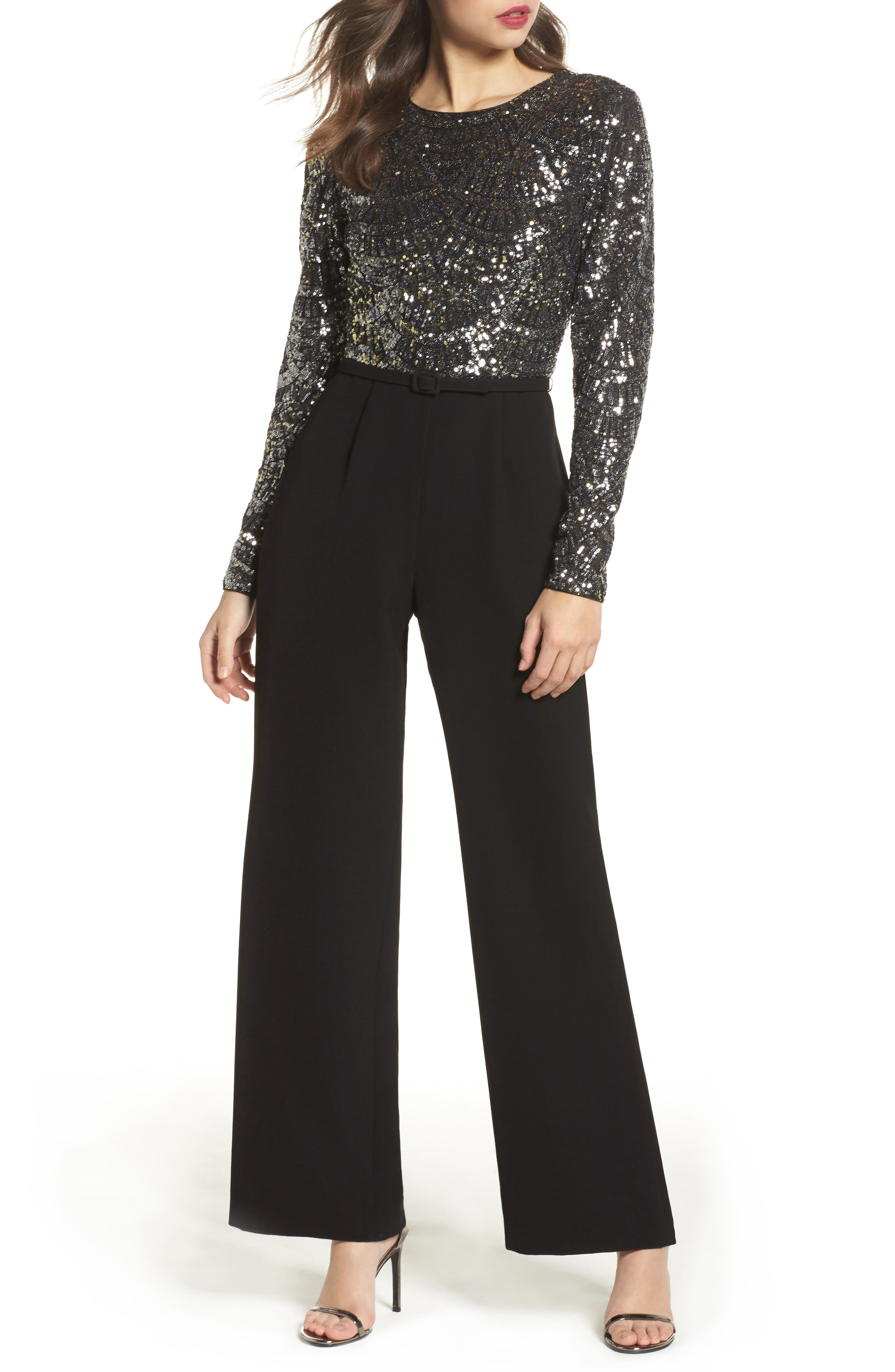 Belted Sequin & Crepe Jumpsuit,                             Main thumbnail 1, color,                             046