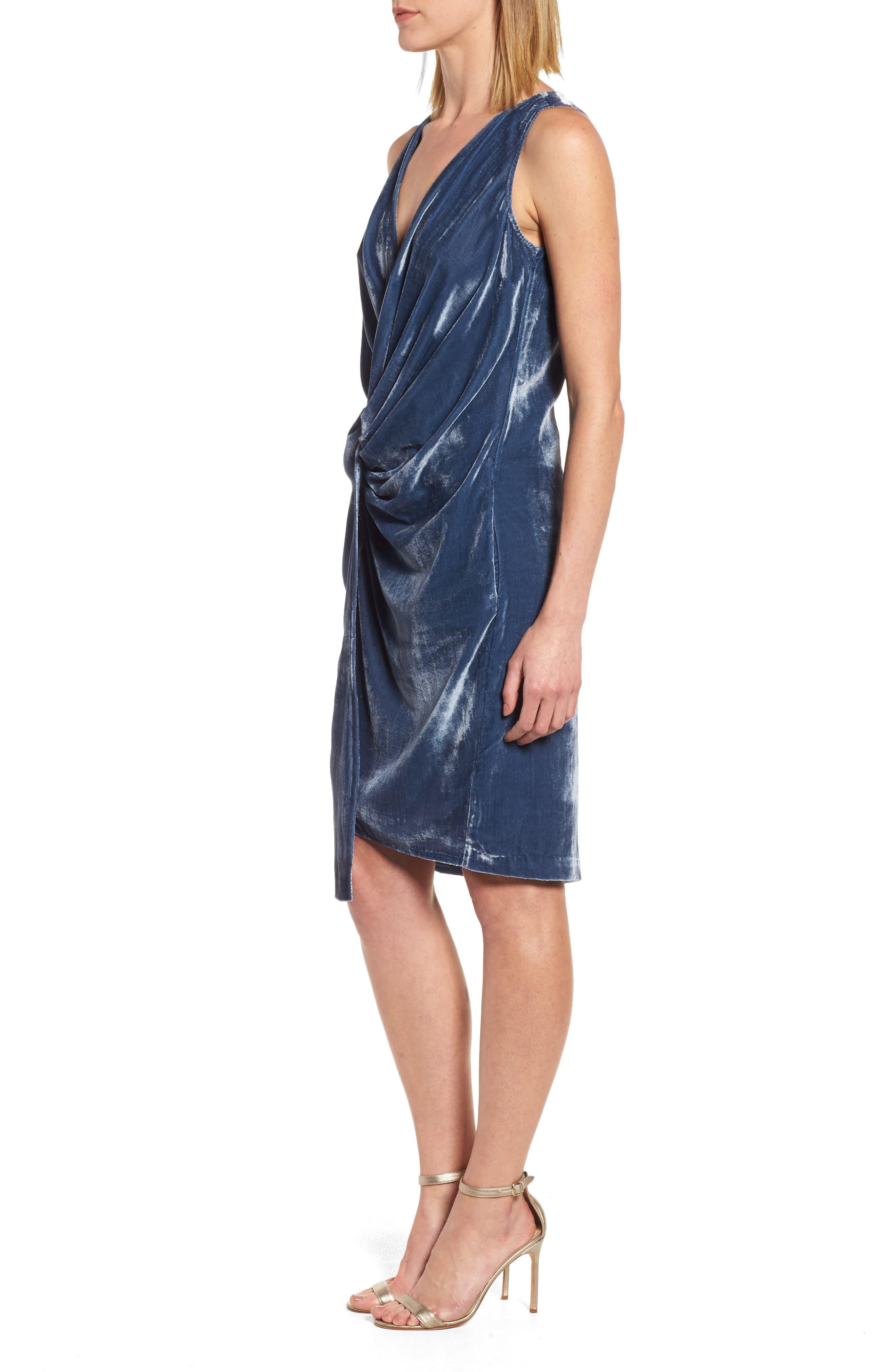 Kenneth Cole Twisted Faux Wrap Velvet Dress,                             Alternate thumbnail 3, color,