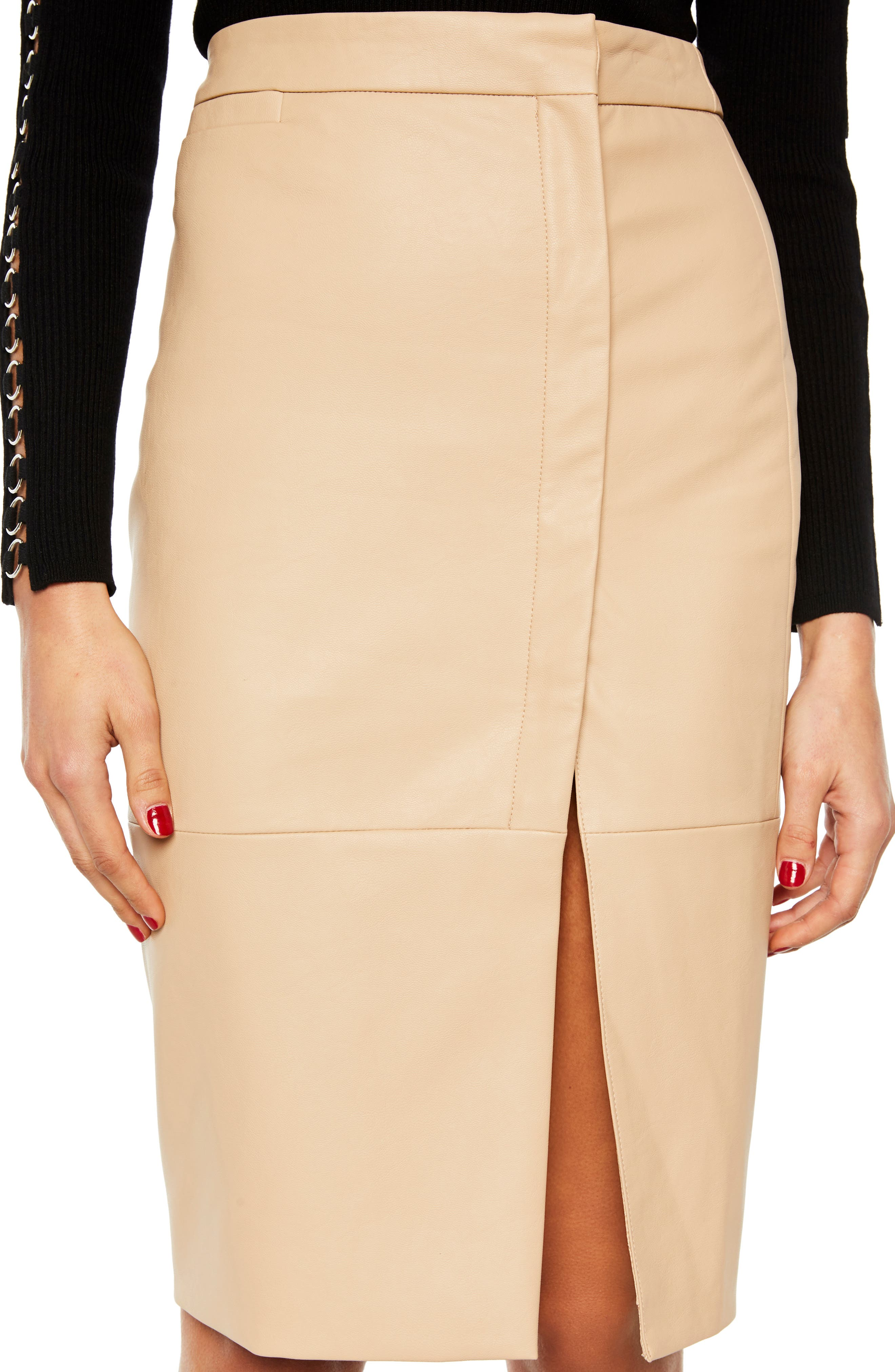 Dee Faux Leather Pencil Skirt,                             Alternate thumbnail 4, color,                             250