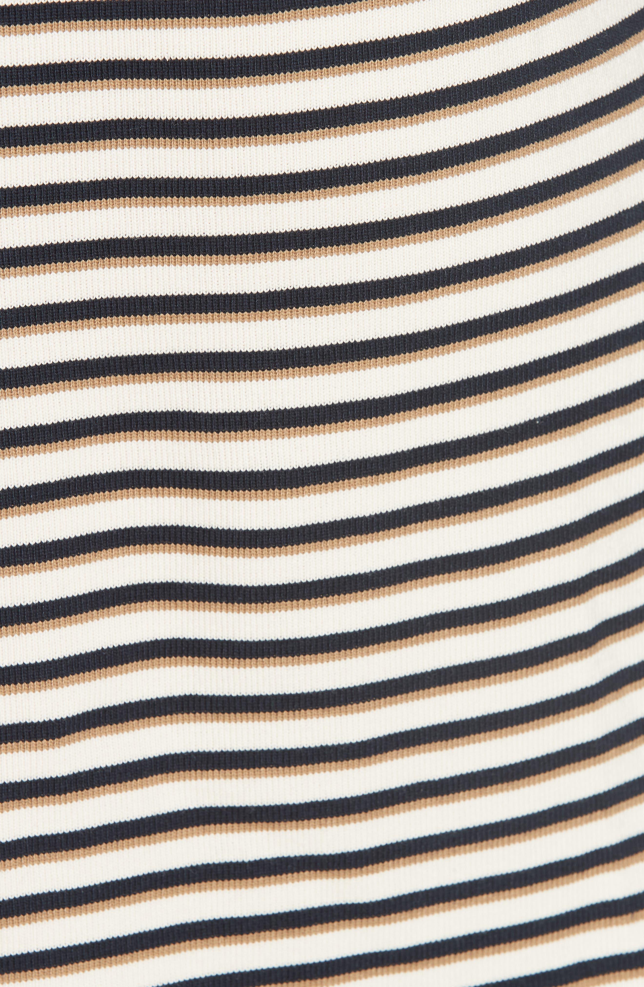 Stripe Ruffle Sleeve Shift Dress,                             Alternate thumbnail 6, color,                             WHITE - BEIGE 1