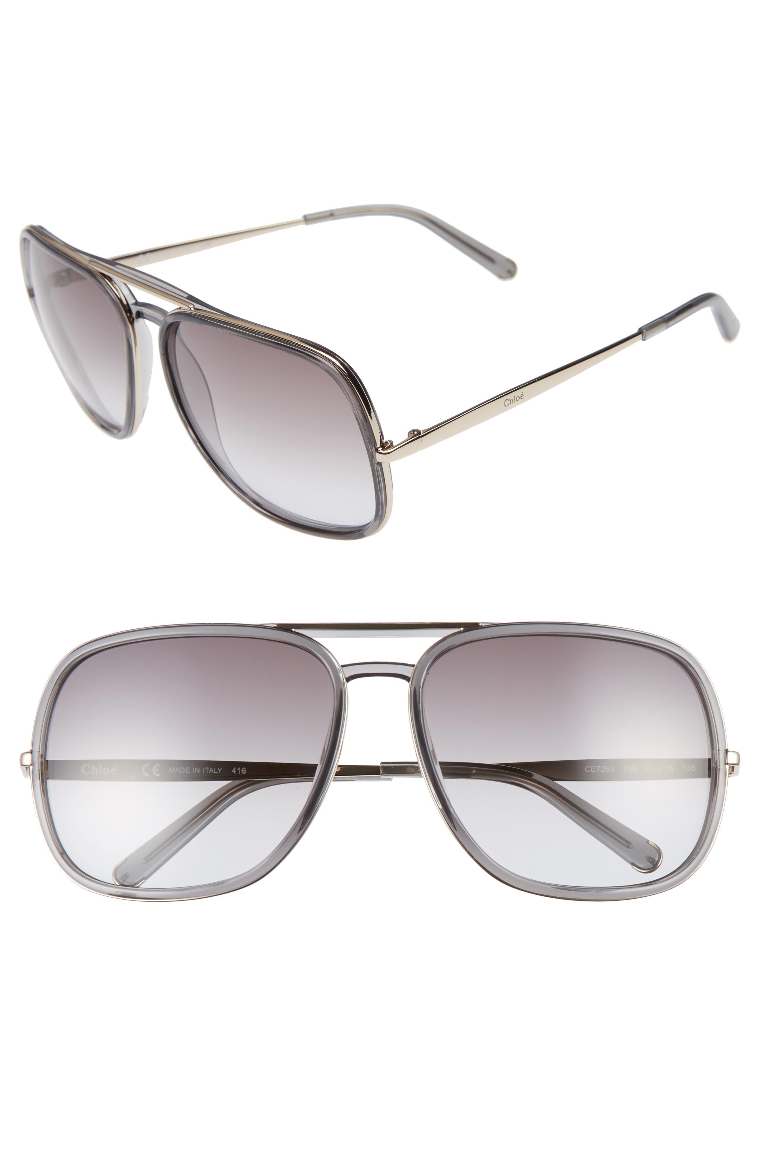 60mm Gradient Lens Navigator Sunglasses,                             Main thumbnail 1, color,                             020