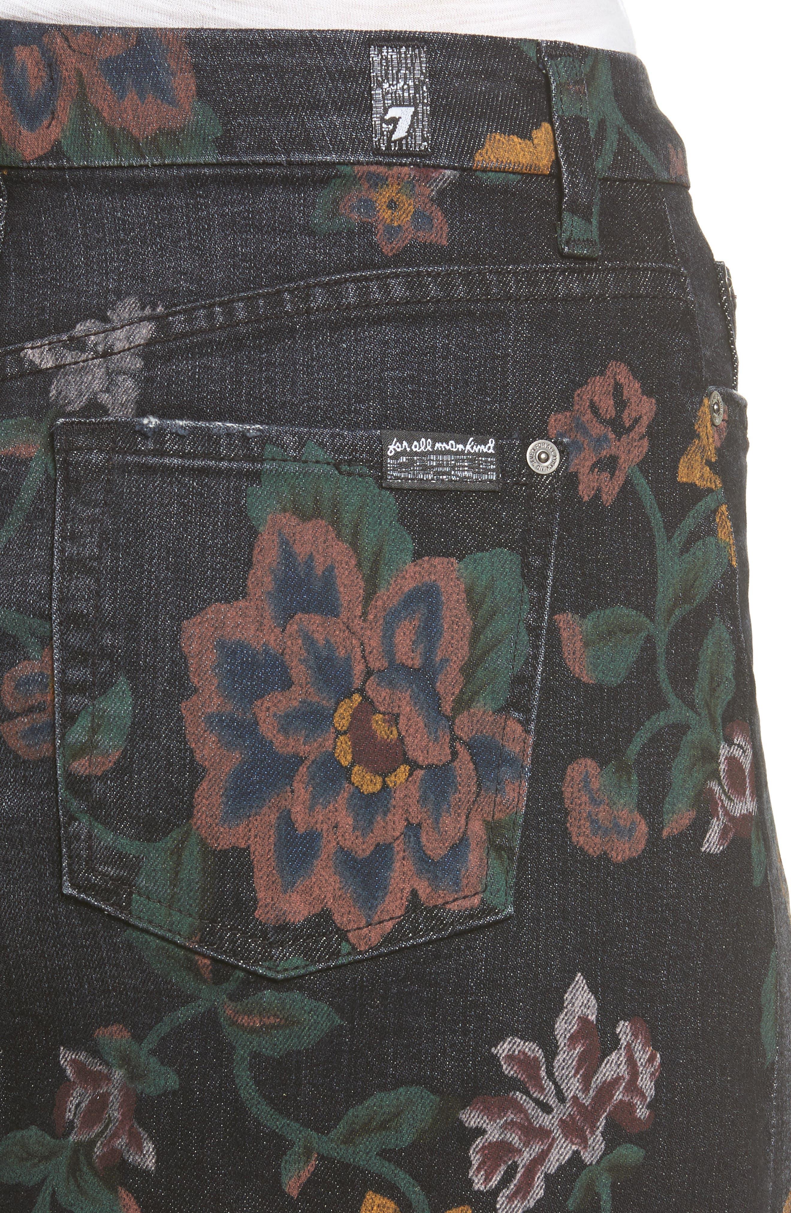 Print Denim Miniskirt,                             Alternate thumbnail 4, color,                             004