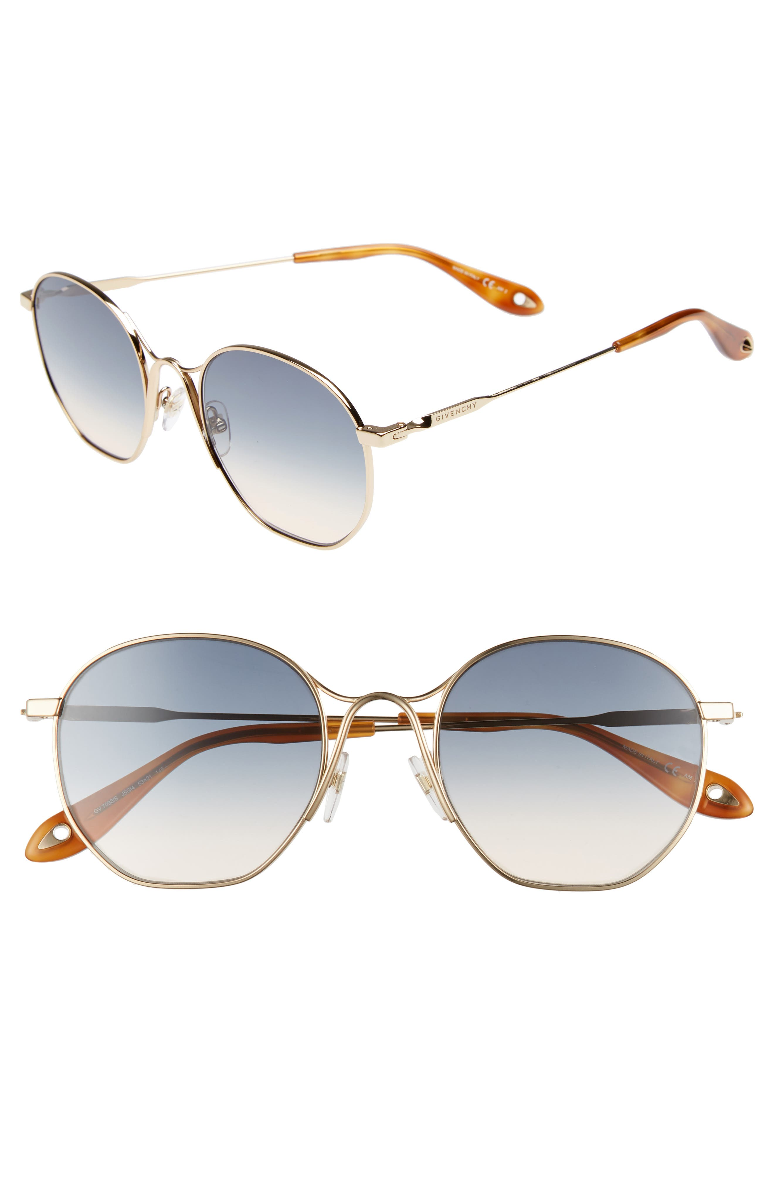 53mm Squared Round Metal Sunglasses,                             Main thumbnail 1, color,                             GOLD