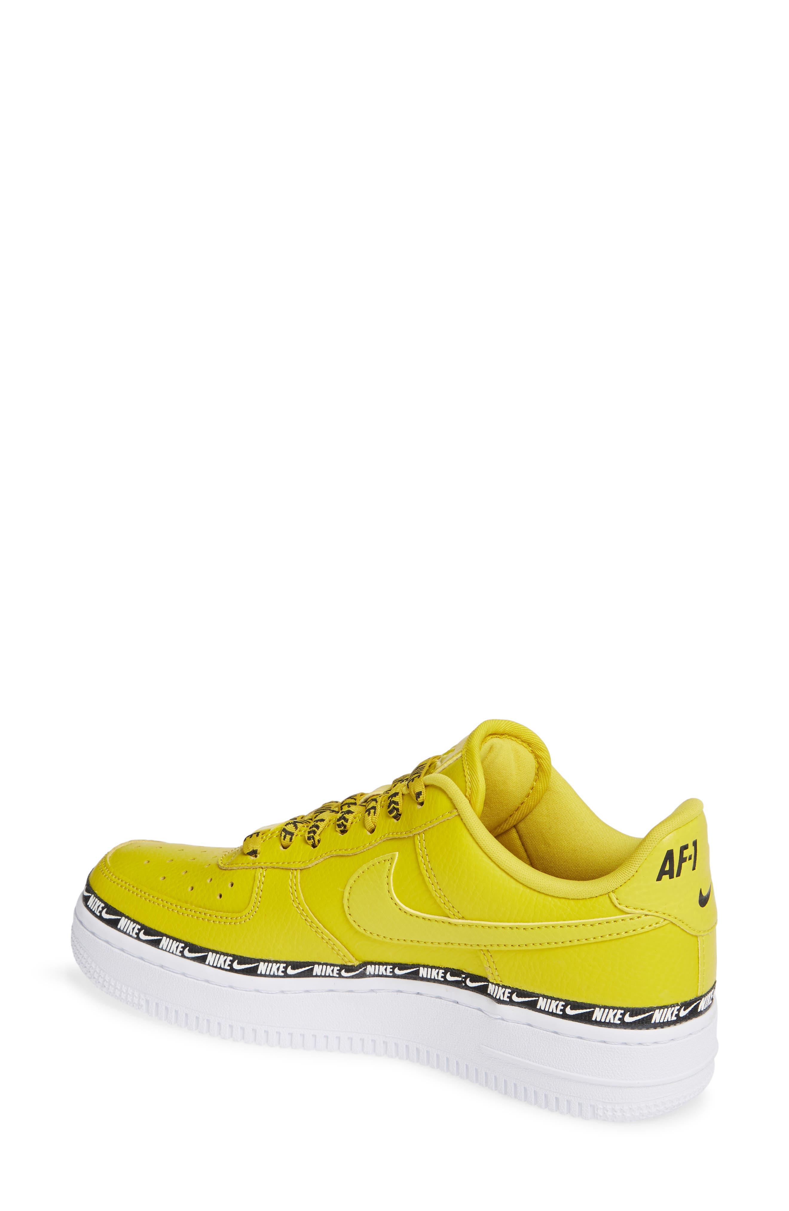 Air Force 1 '07 SE Premium Sneaker,                             Alternate thumbnail 2, color,                             BRIGHT CITRON/ BLACK/ WHITE