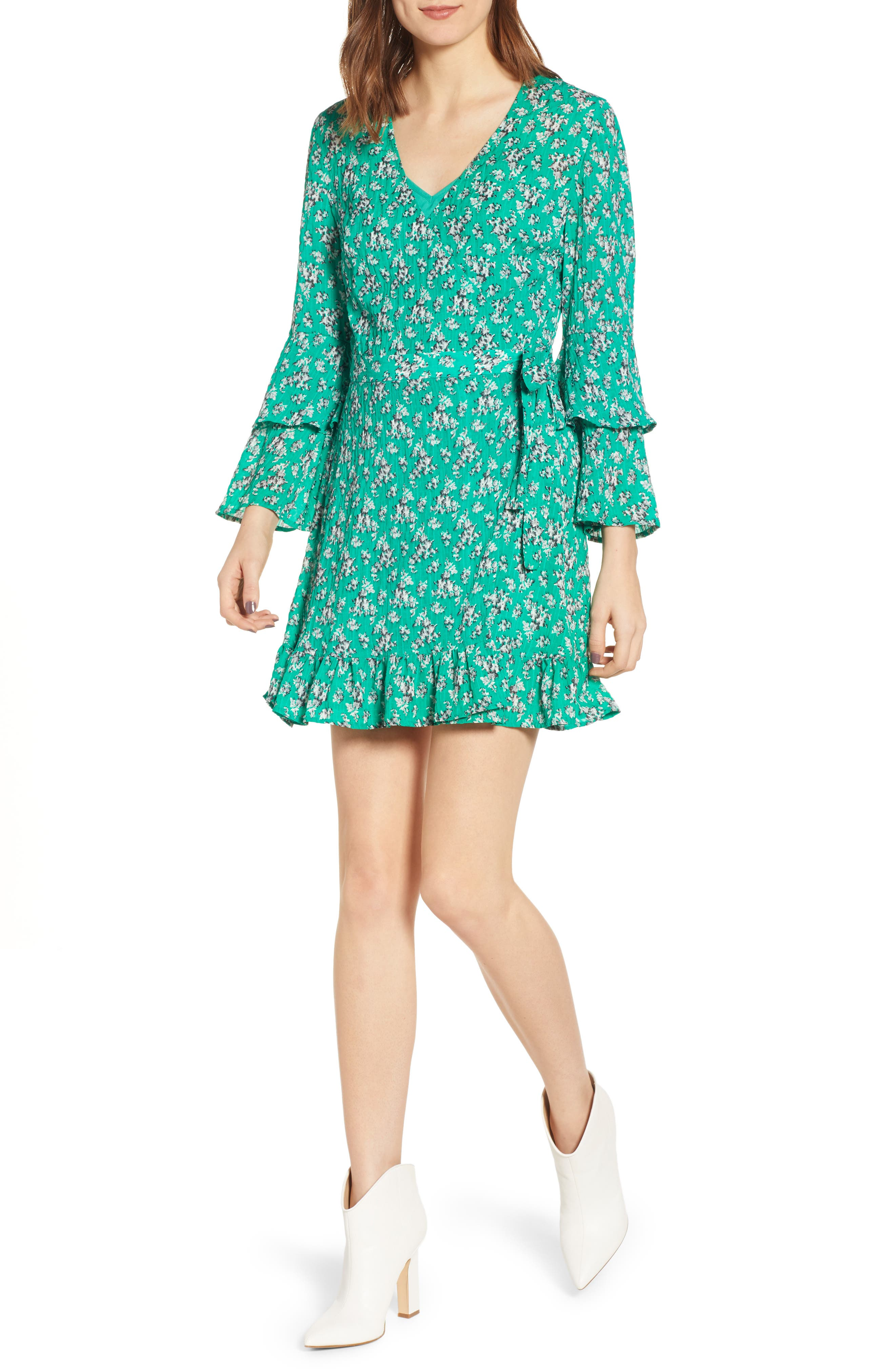 The Fifth Label Adventurer Floral Wrap Minidress, Green