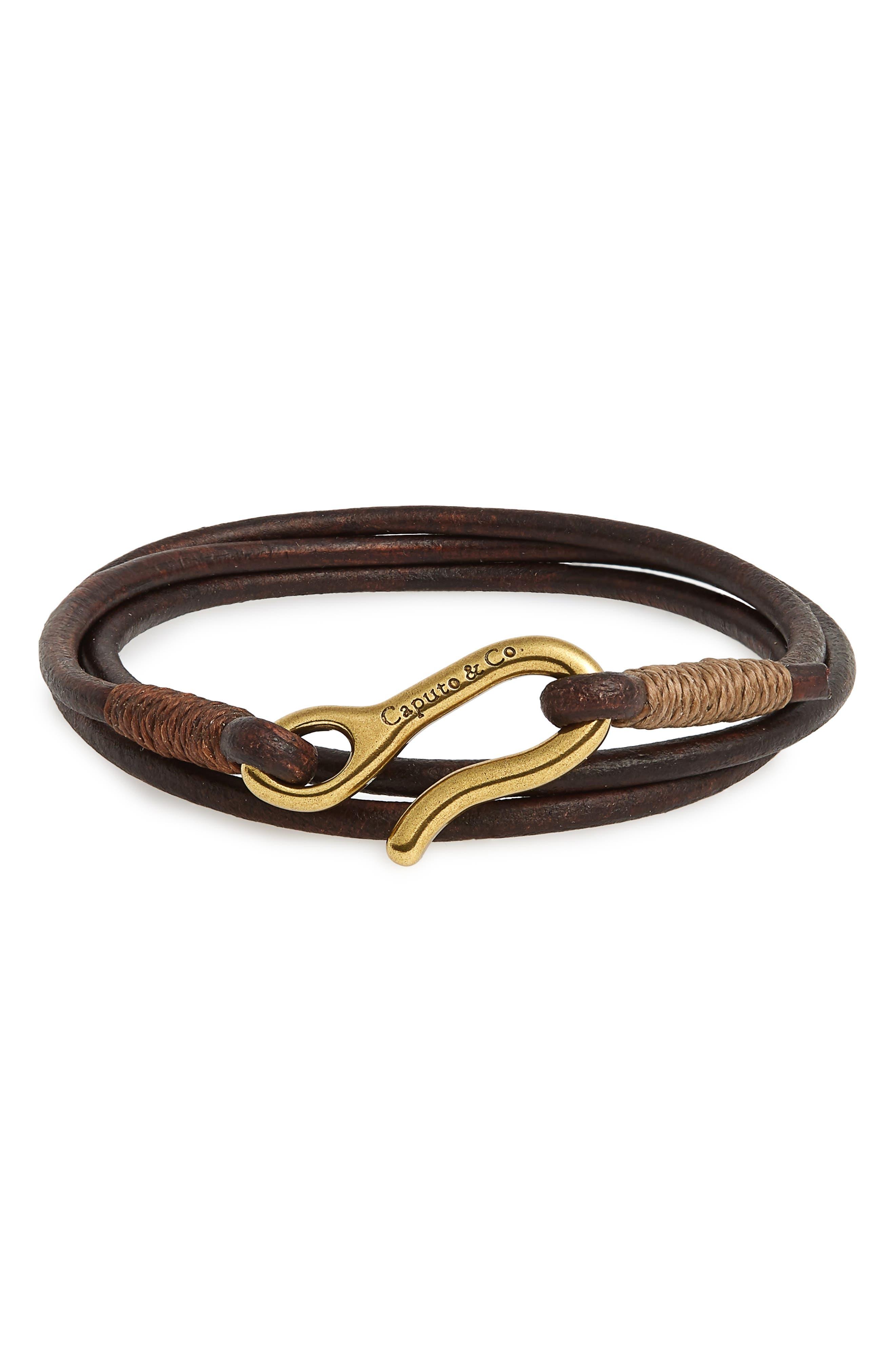 Leather Wrap Bracelet,                             Main thumbnail 2, color,
