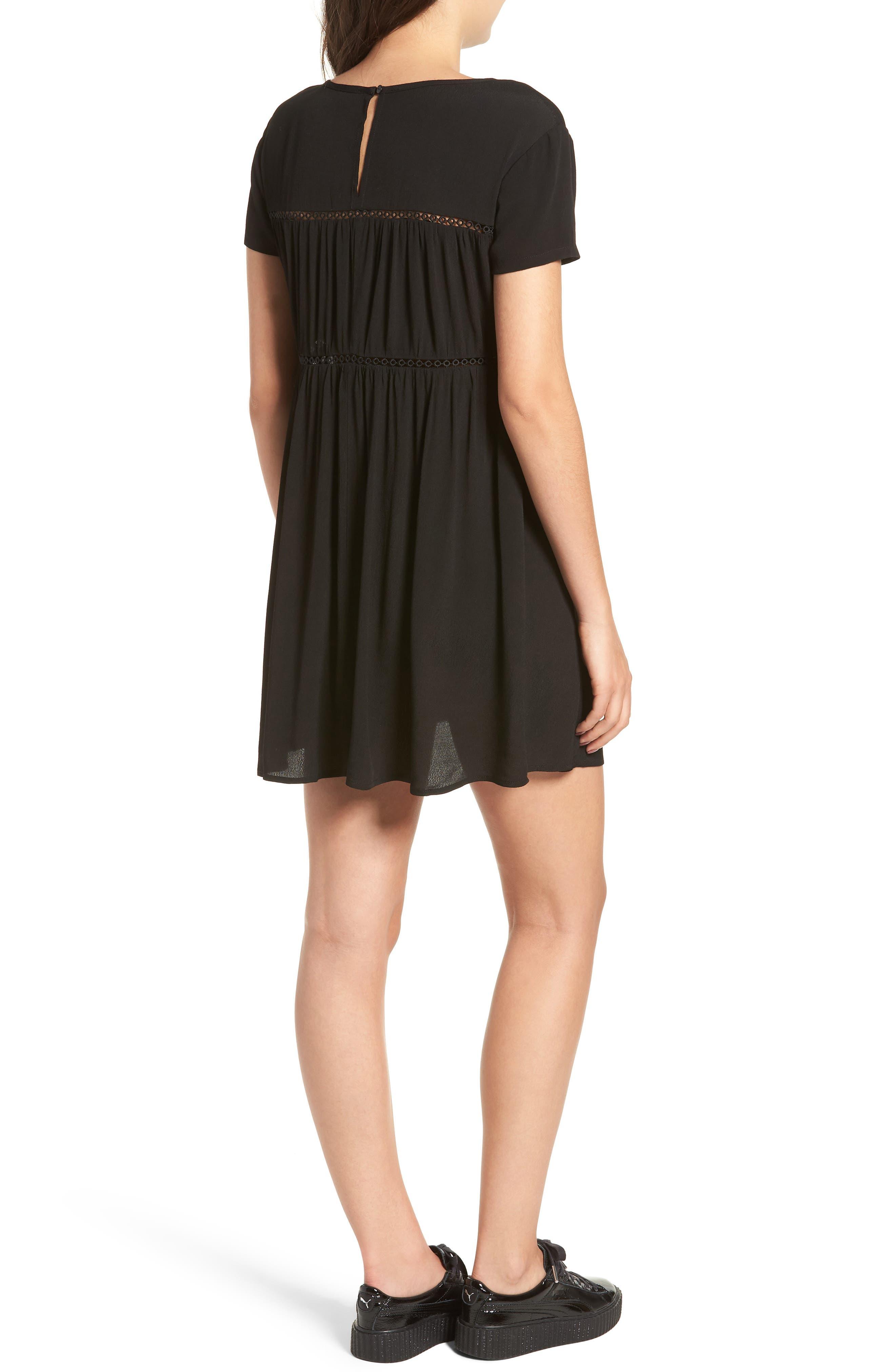 LIRA CLOTHING,                             Amelia Silk Blend Babydoll Dress,                             Alternate thumbnail 2, color,                             BLACK