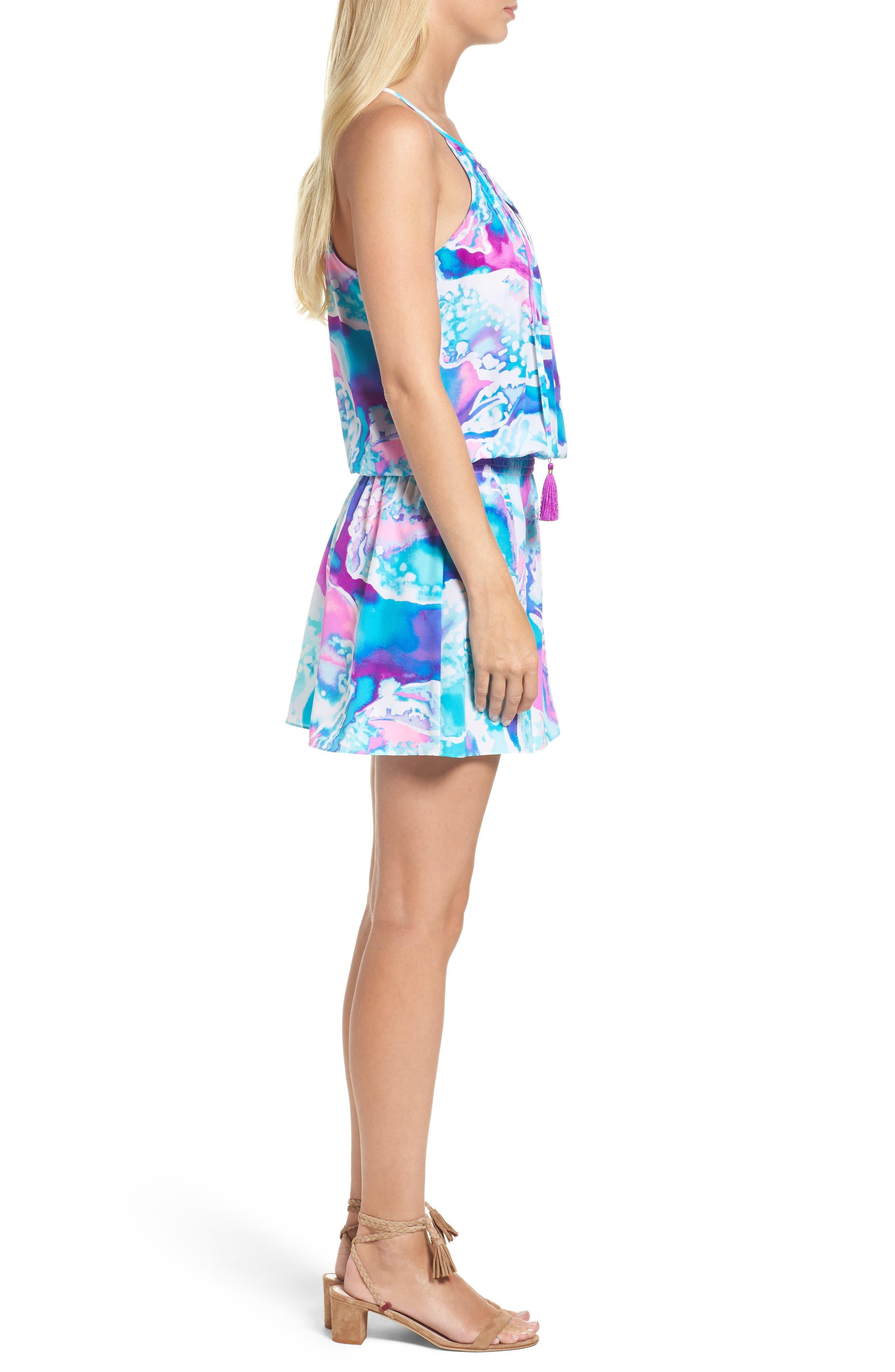 Minda Silk Blouson Dress,                             Alternate thumbnail 3, color,                             569