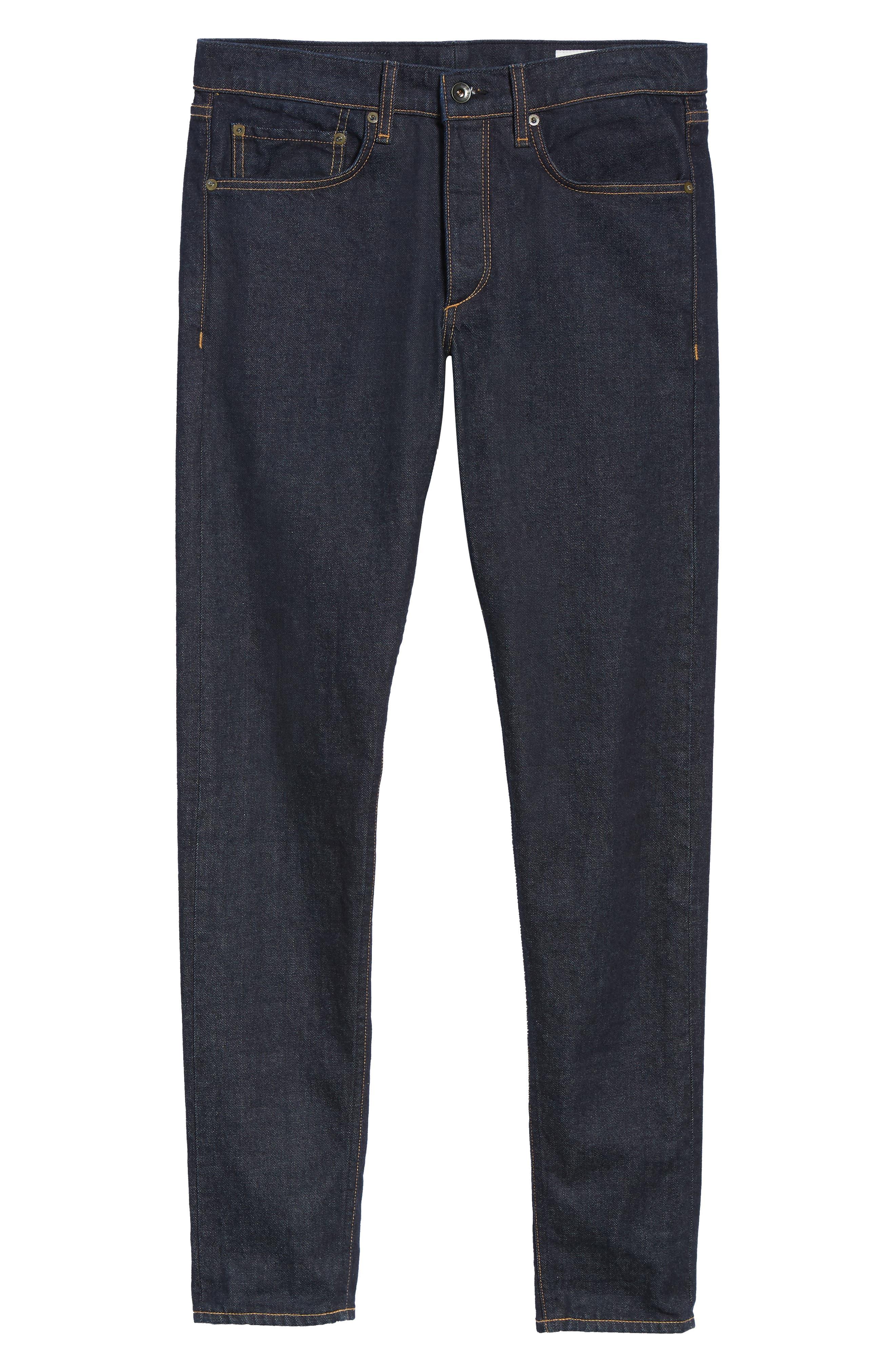 Fit 1 Skinny Fit Jeans,                             Alternate thumbnail 6, color,                             INDIGO RINSE SELVEDGE