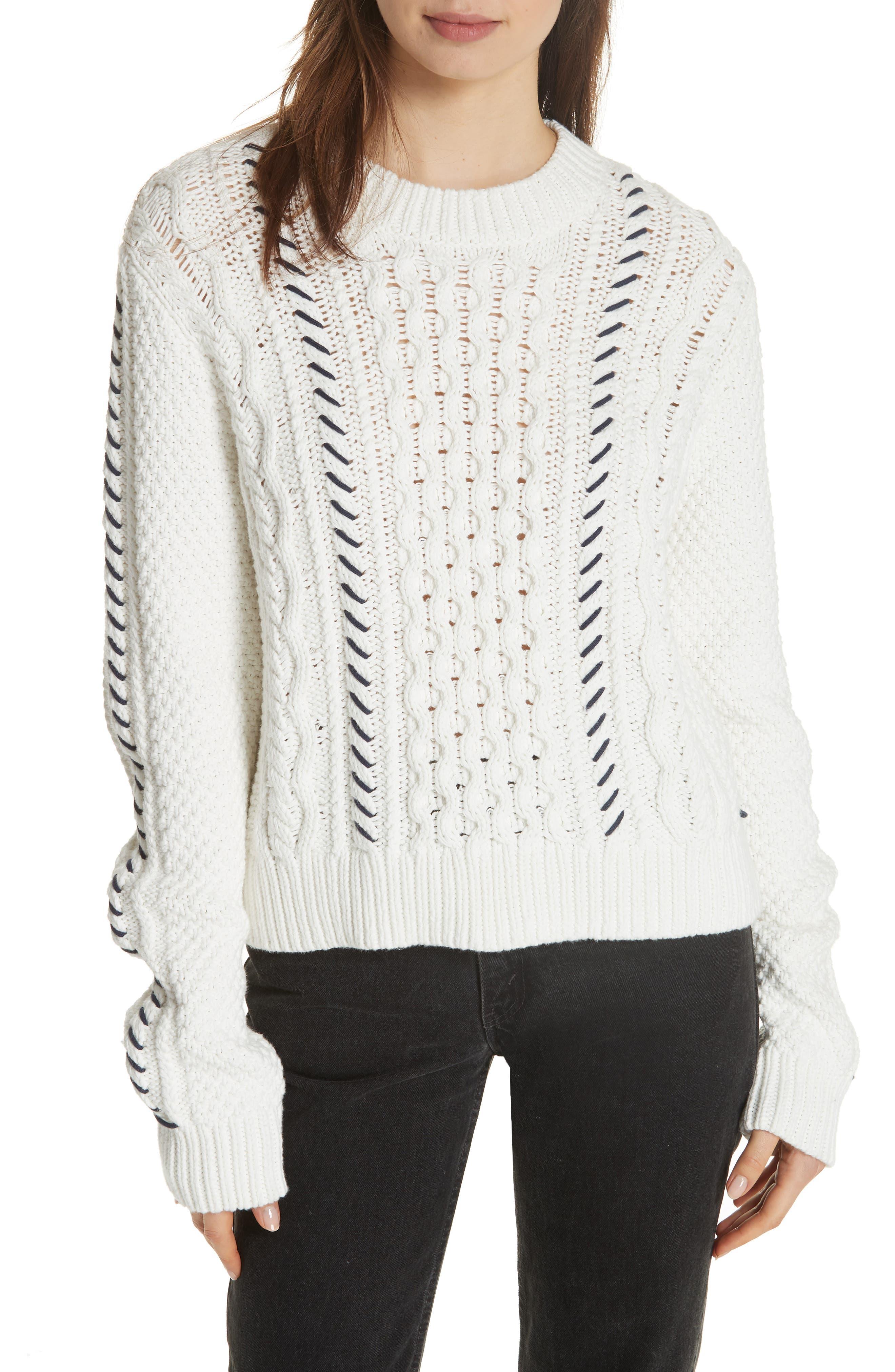 Cotton Fisherman Sweater,                             Main thumbnail 1, color,                             WHITE NAVY