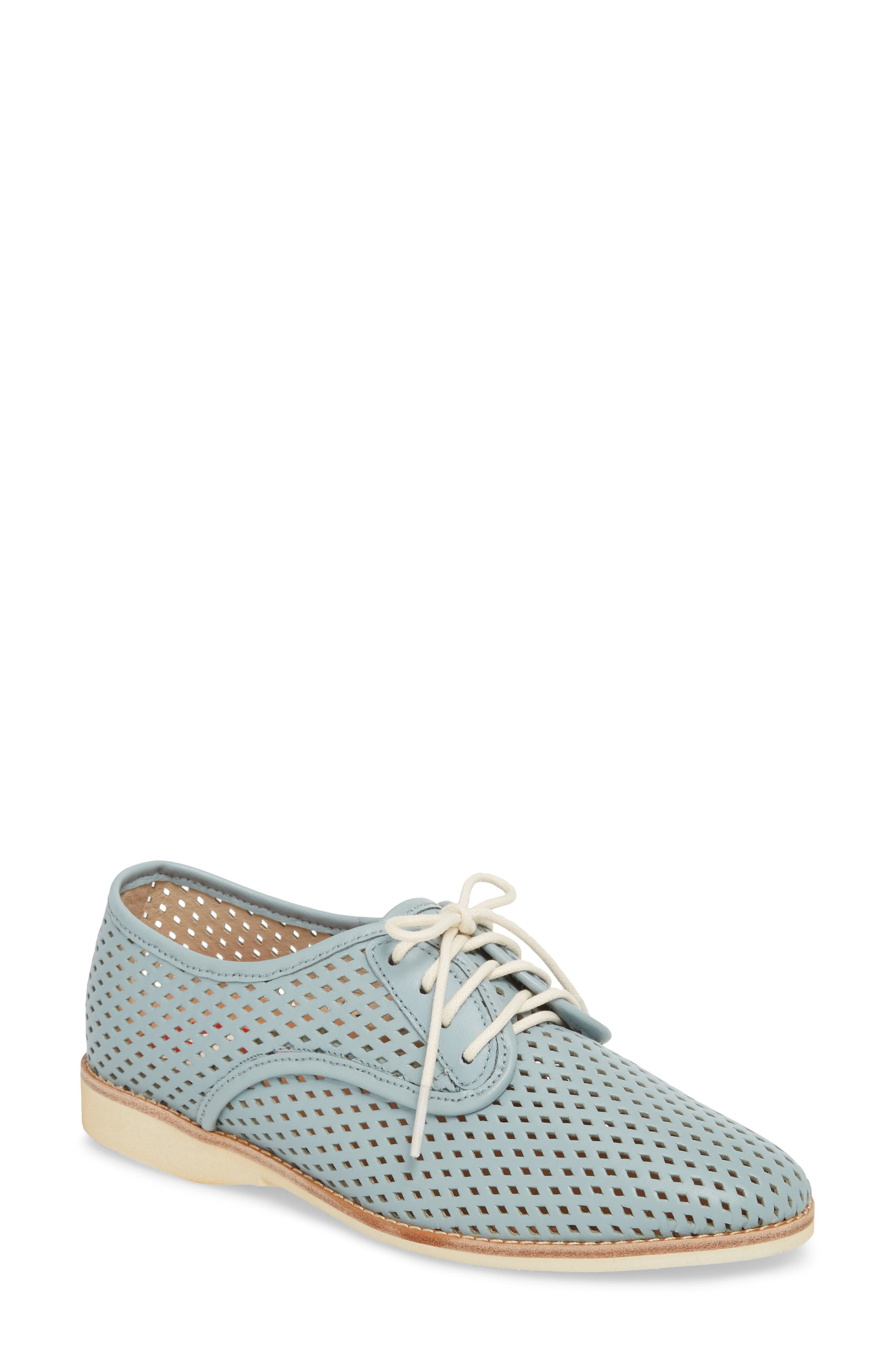 ROLLIE Punch Perforated Derby in Chalk Blue Leather