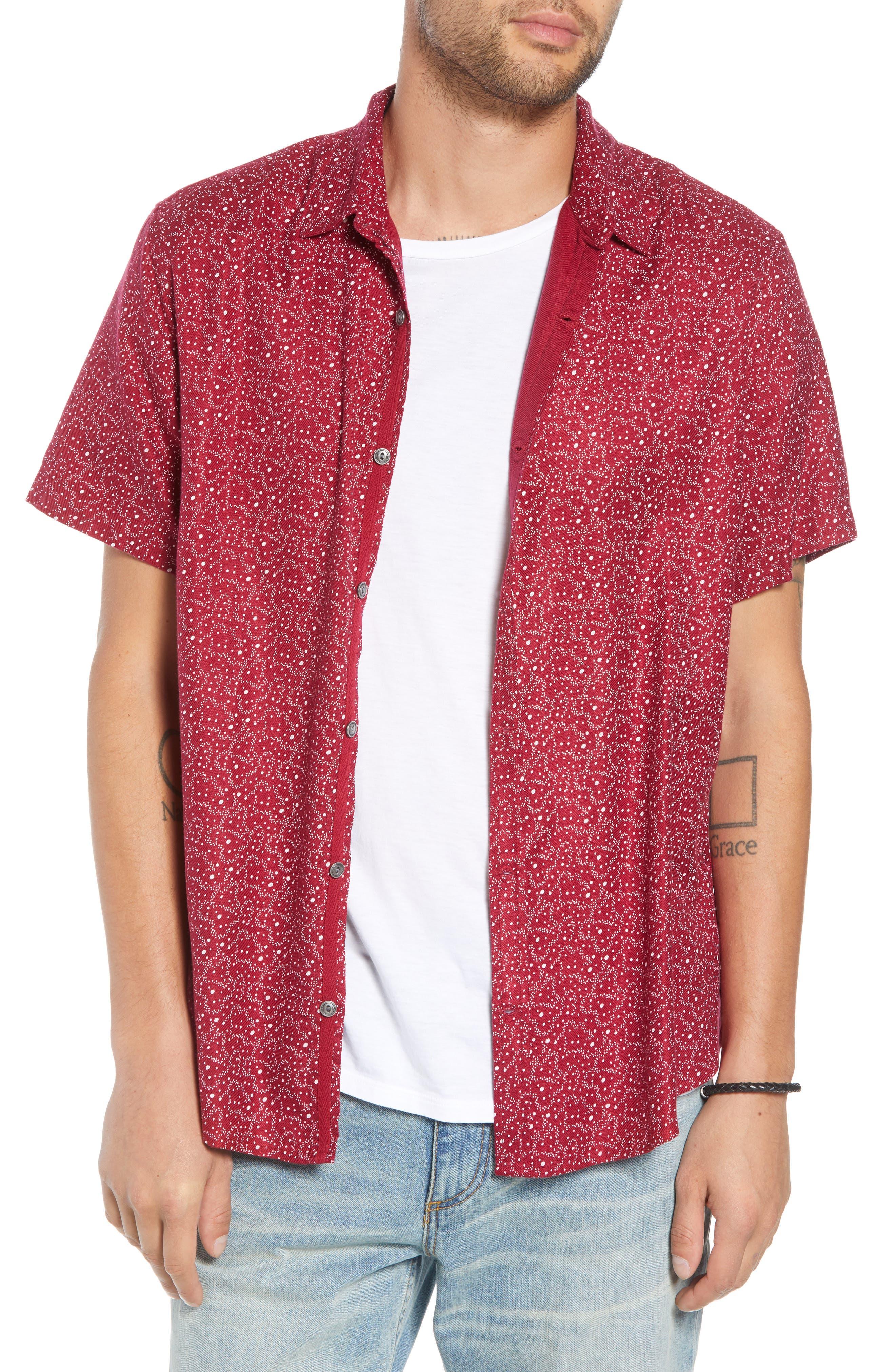 Trim Fit Print Sport Shirt,                         Main,                         color, RED RUMBA CENTAURI