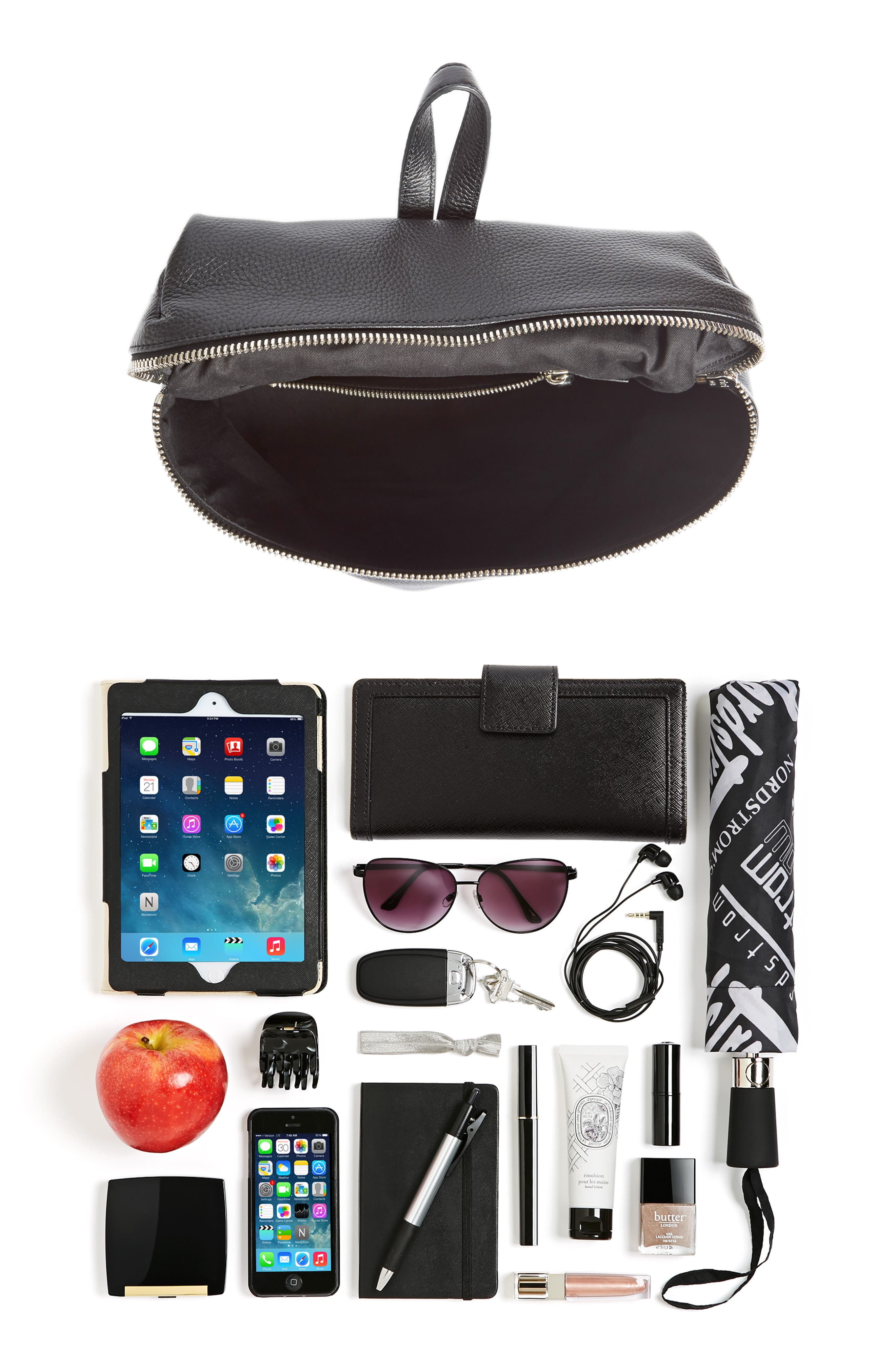 Leather Backpack,                             Alternate thumbnail 6, color,                             BLACK