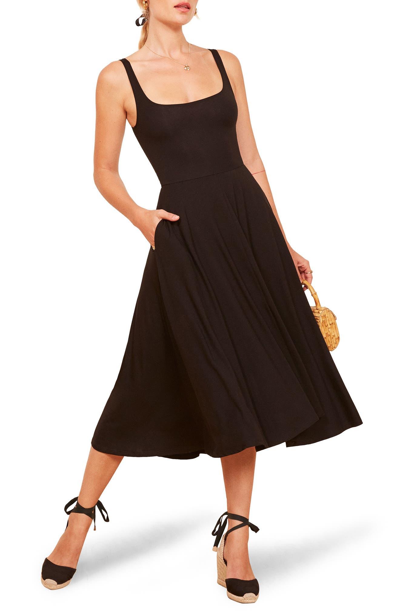 REFORMATION,                             Rou Midi Fit & Flare Dress,                             Main thumbnail 1, color,                             BLACK