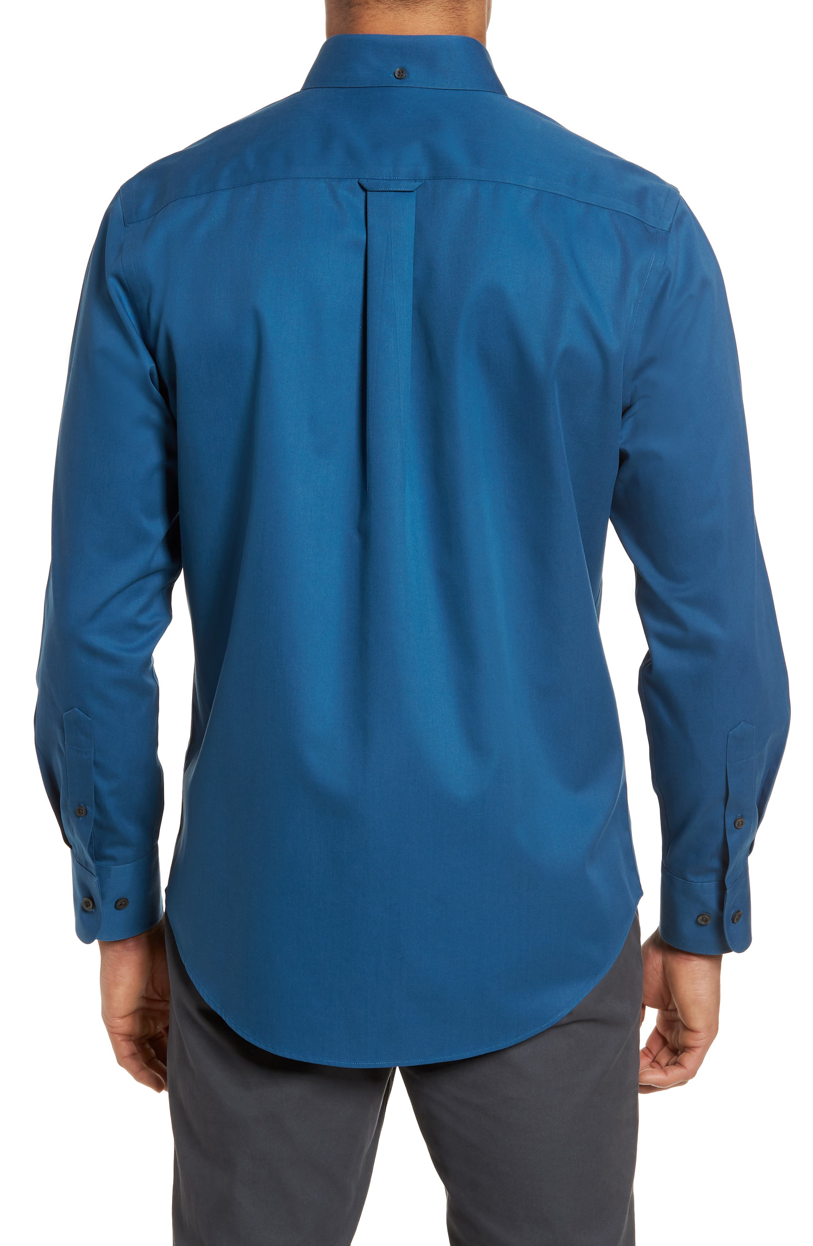 Smartcare<sup>™</sup> Traditional Fit Twill Boat Shirt,                             Alternate thumbnail 2, color,                             BLUE DARK