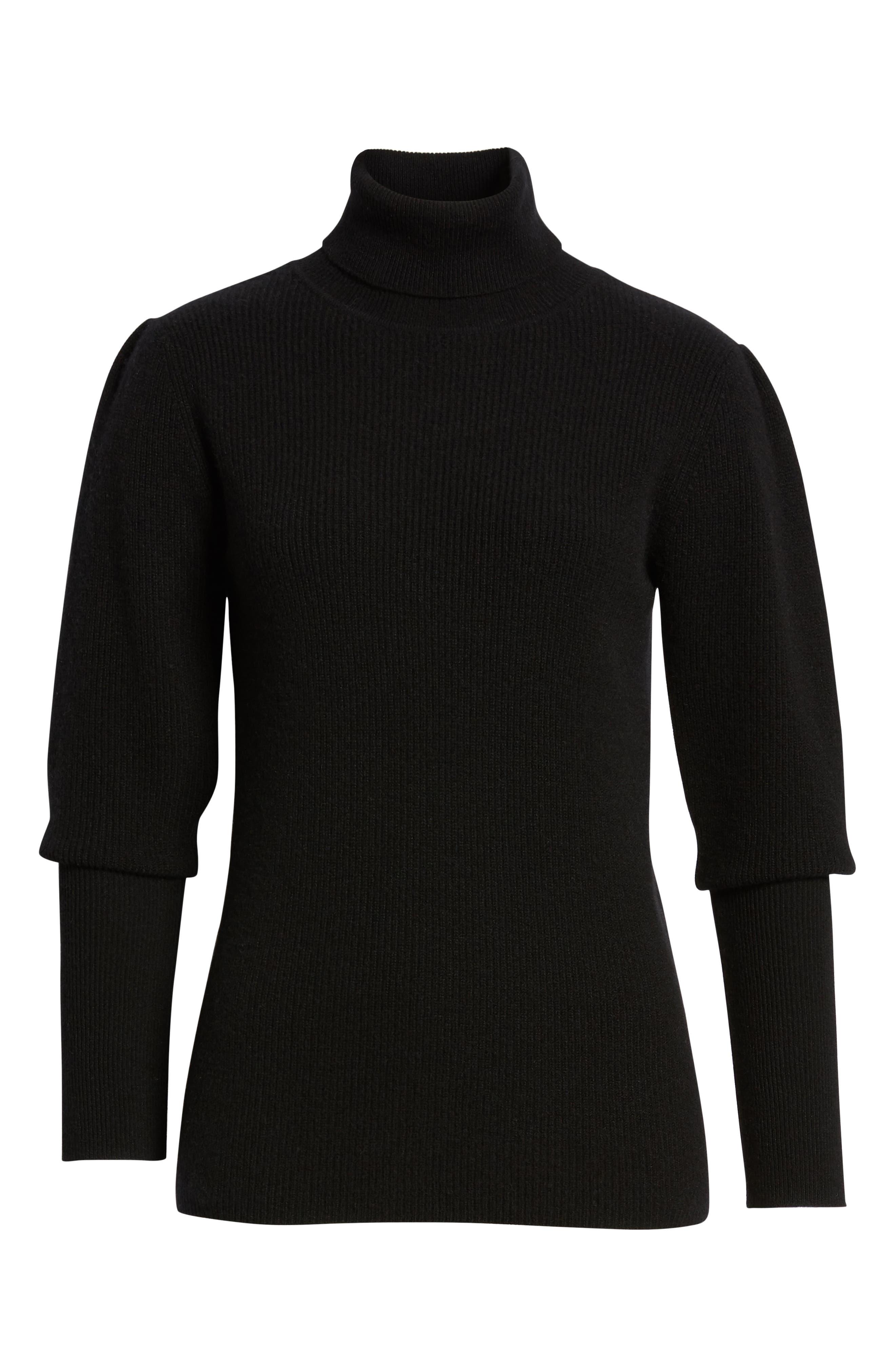 Cashmere Puff Sleeve Turtleneck,                             Alternate thumbnail 6, color,                             BLACK