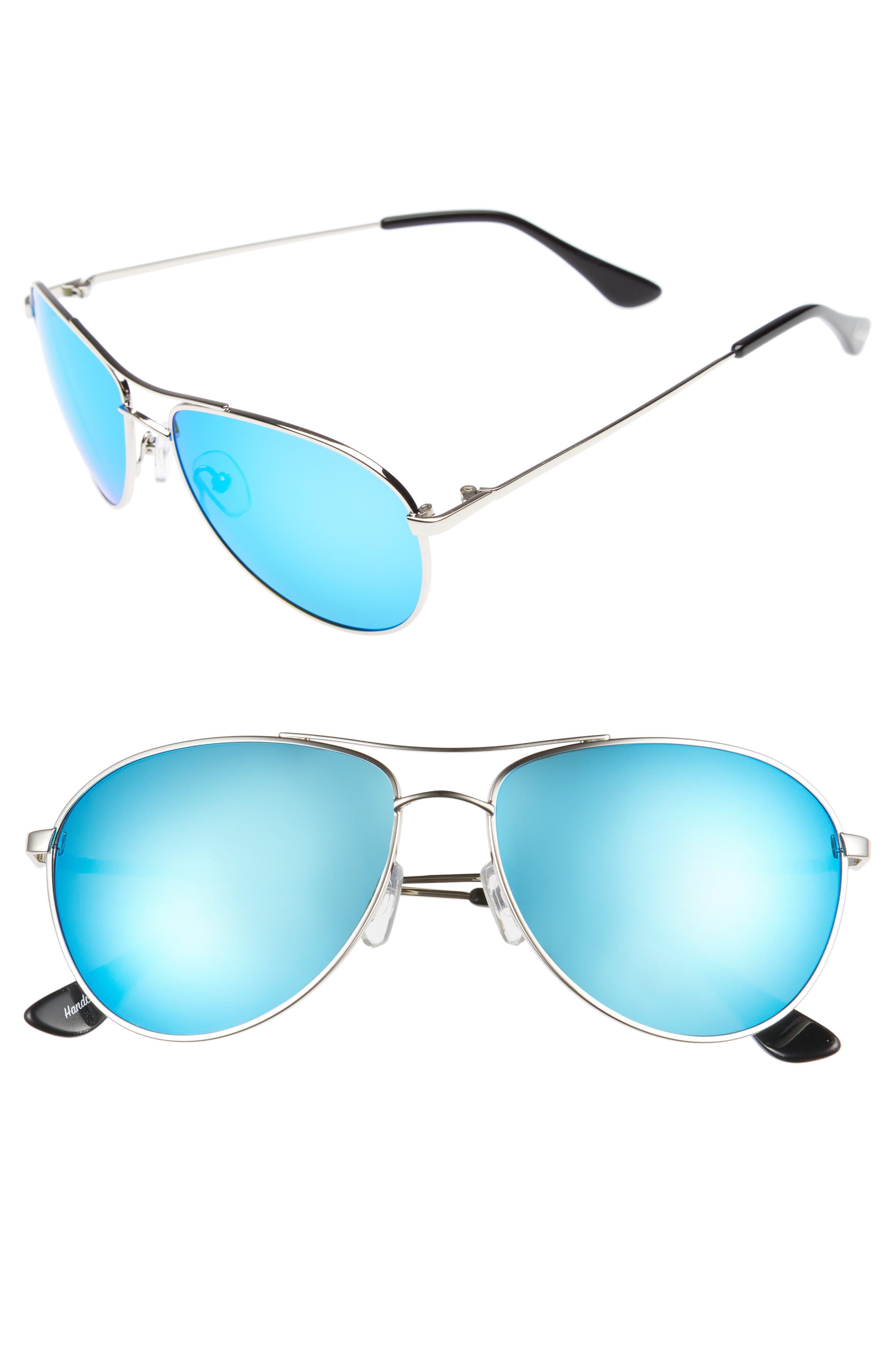 Orville 58mm Mirrored Aviator Sunglasses,                         Main,                         color, Silver/ Blue Mirror