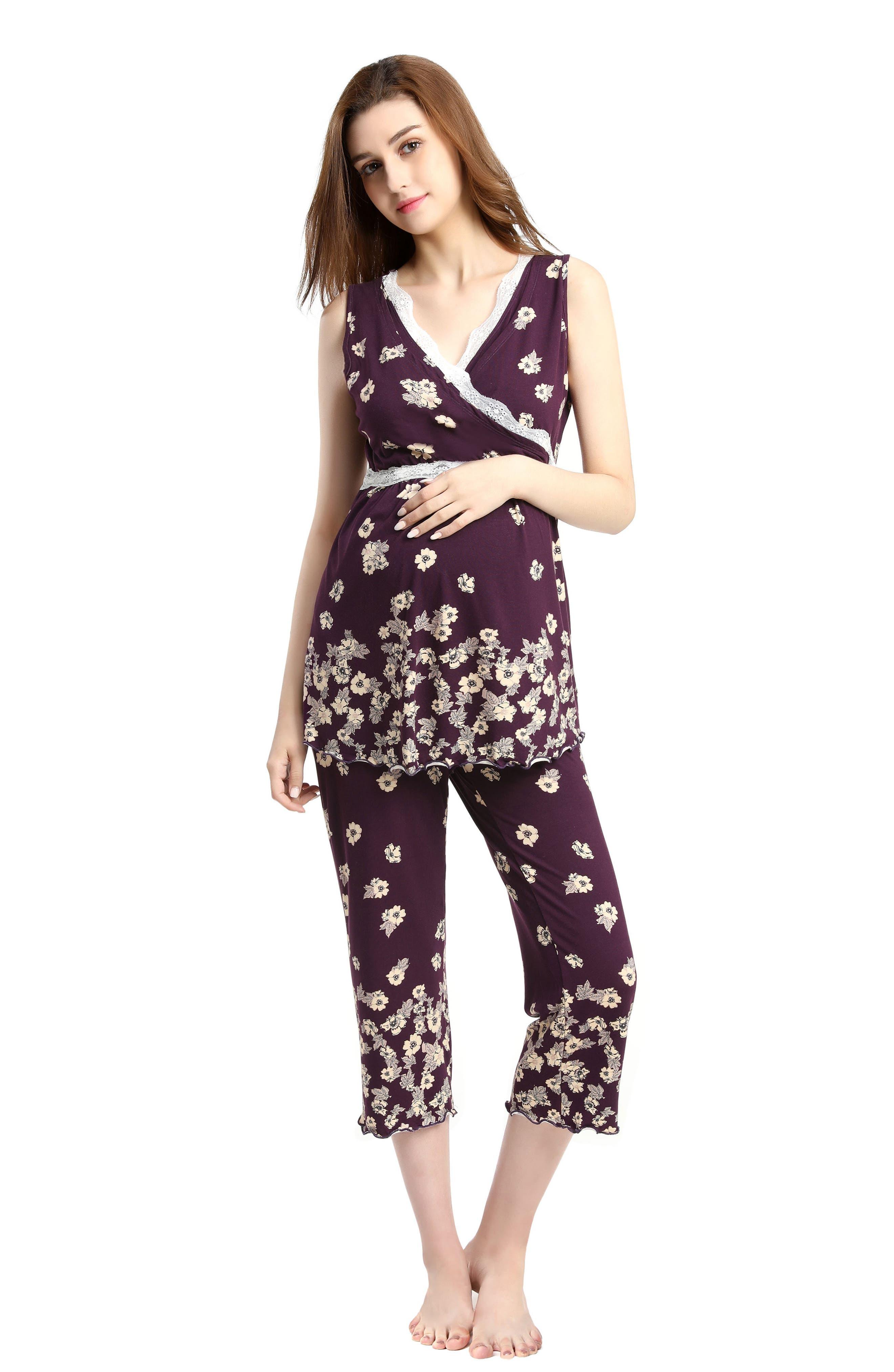 Kimi & Kai Loren Nursing/Maternity Pajamas,                             Alternate thumbnail 5, color,                             EGGPLANT