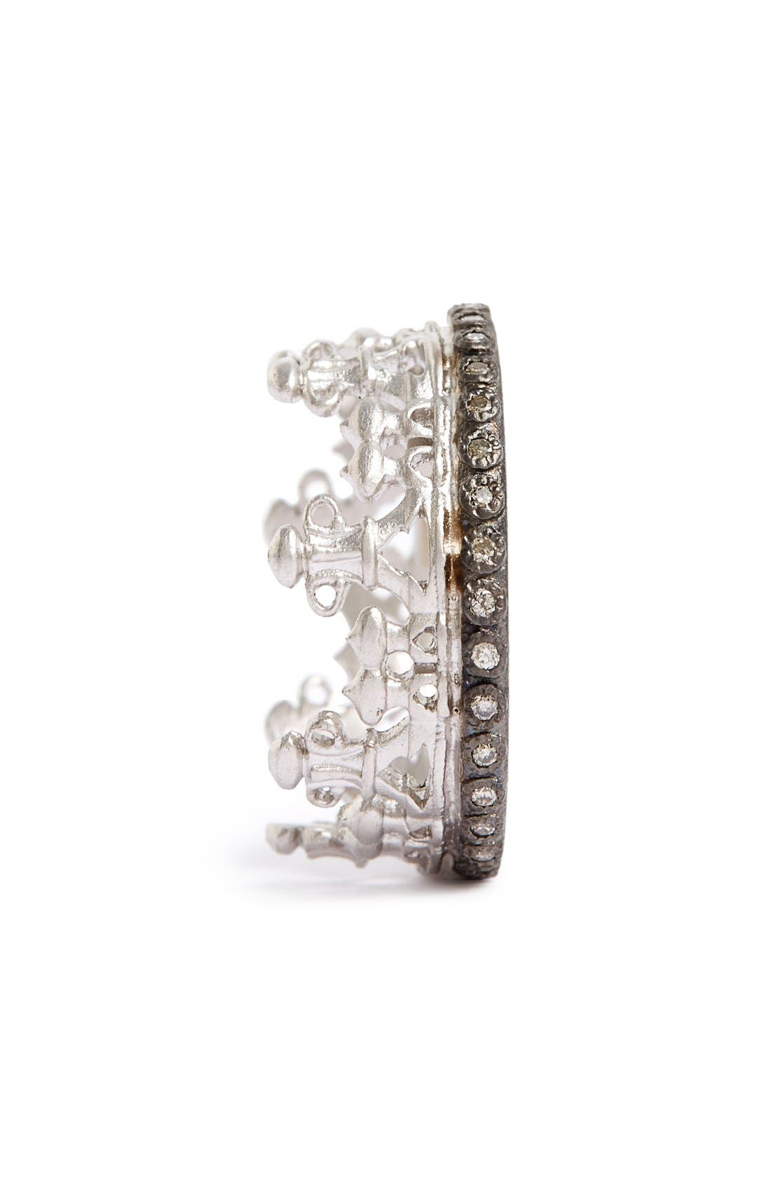 Old World Half Crown Diamond Ring,                             Alternate thumbnail 2, color,                             SILVER