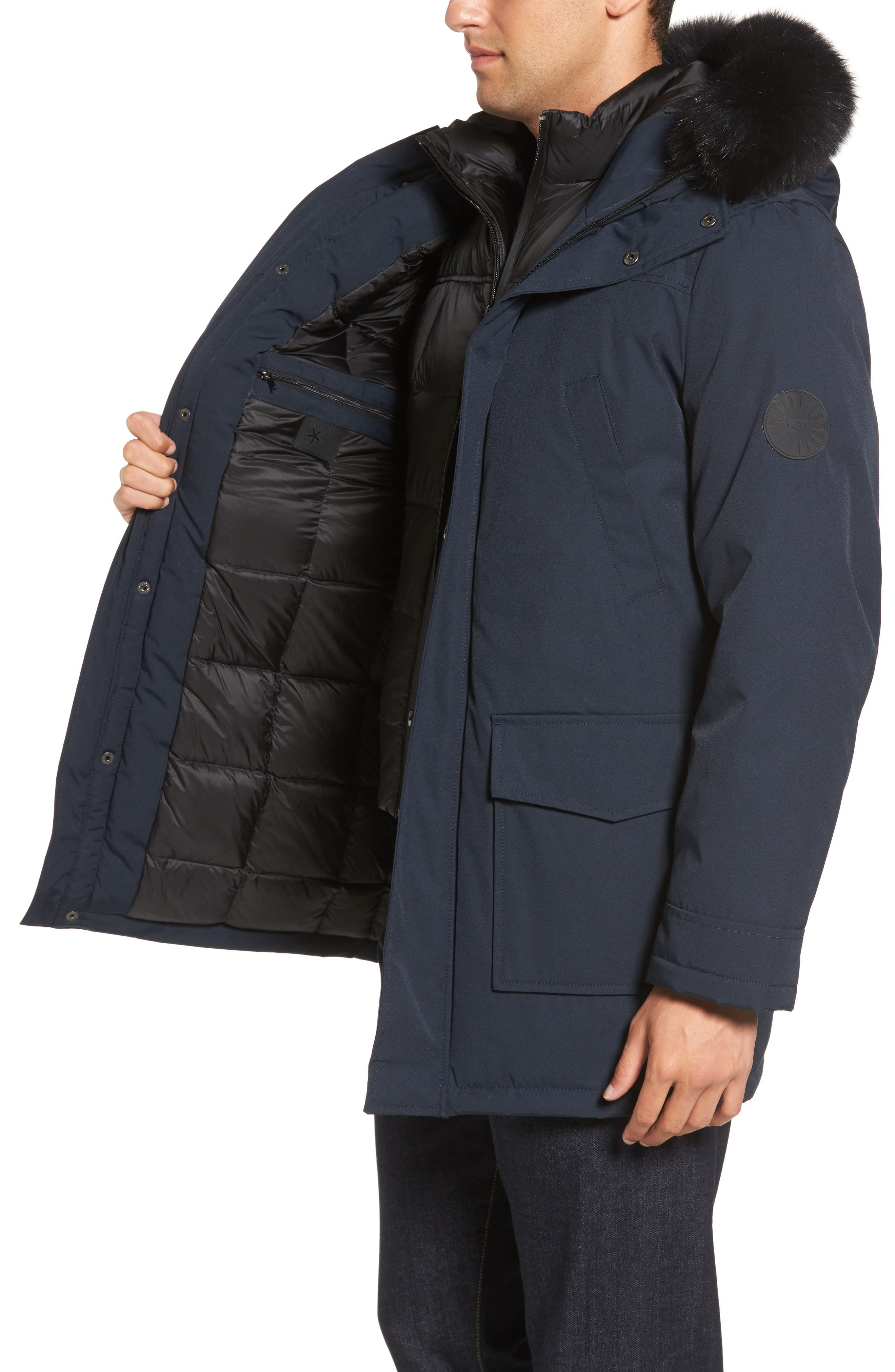 Butte Water-Resistant Down Parka with Genuine Shearling Trim,                             Alternate thumbnail 3, color,                             001
