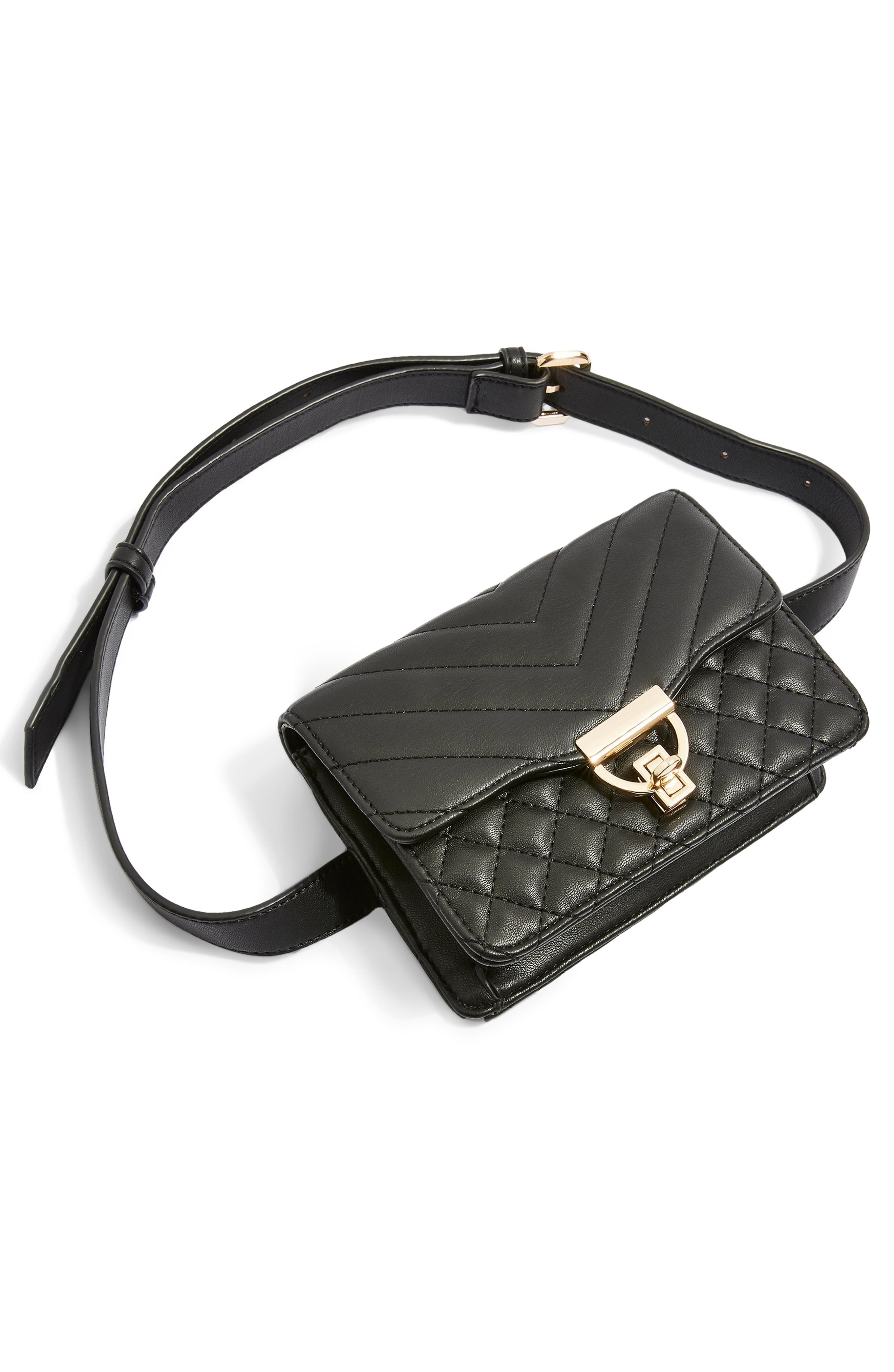 Prince Quilted Belt Bag,                             Alternate thumbnail 4, color,                             BLACK