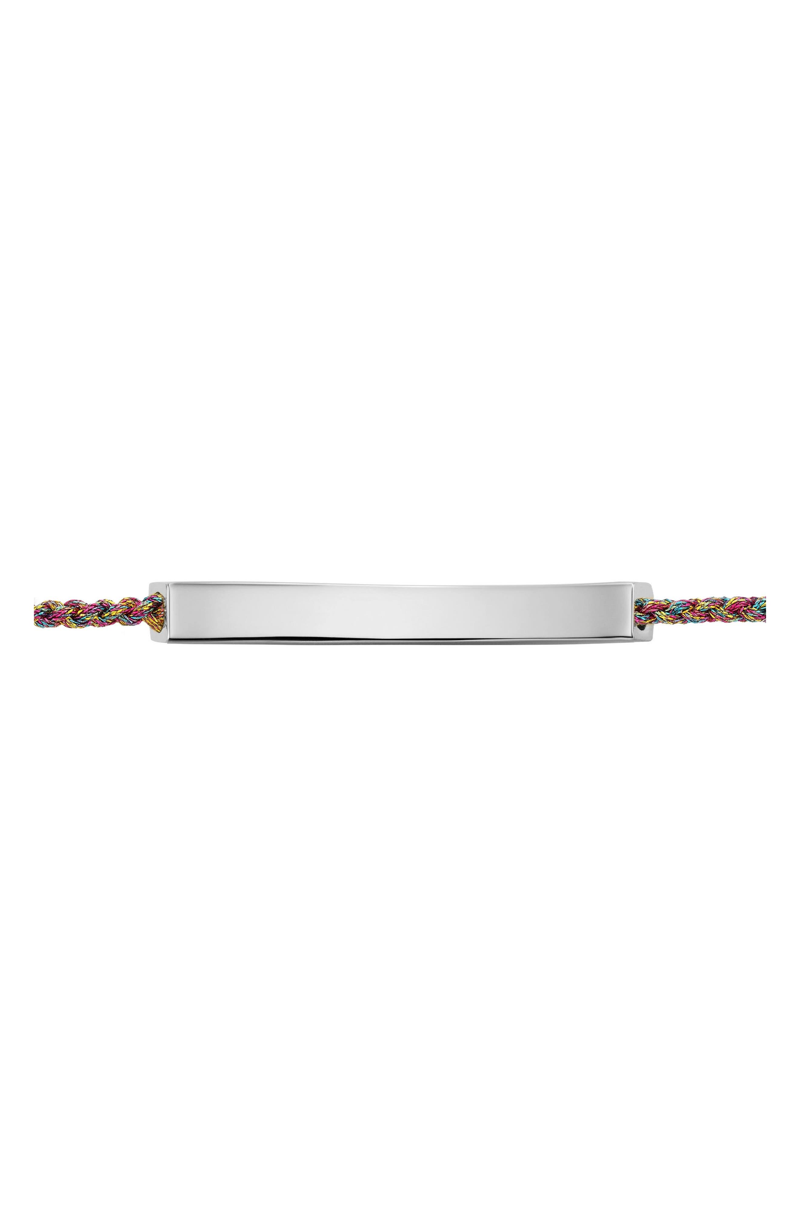 Engravable Linear Friendship Bracelet,                             Alternate thumbnail 2, color,                             SILVER/ RAINBOW