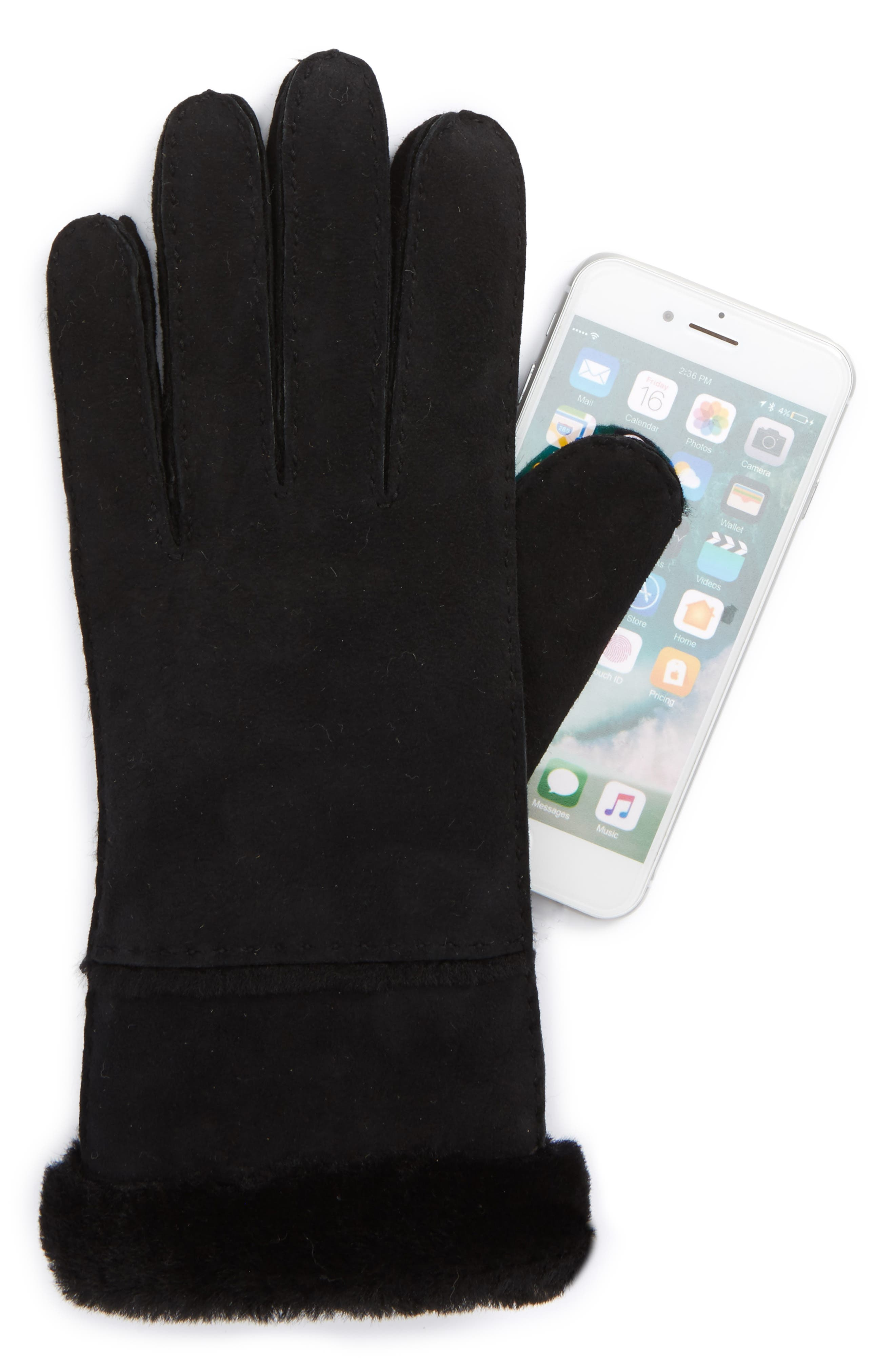 UGG<sup>®</sup> Slim Genuine Shearling Tech Gloves,                             Alternate thumbnail 2, color,                             001