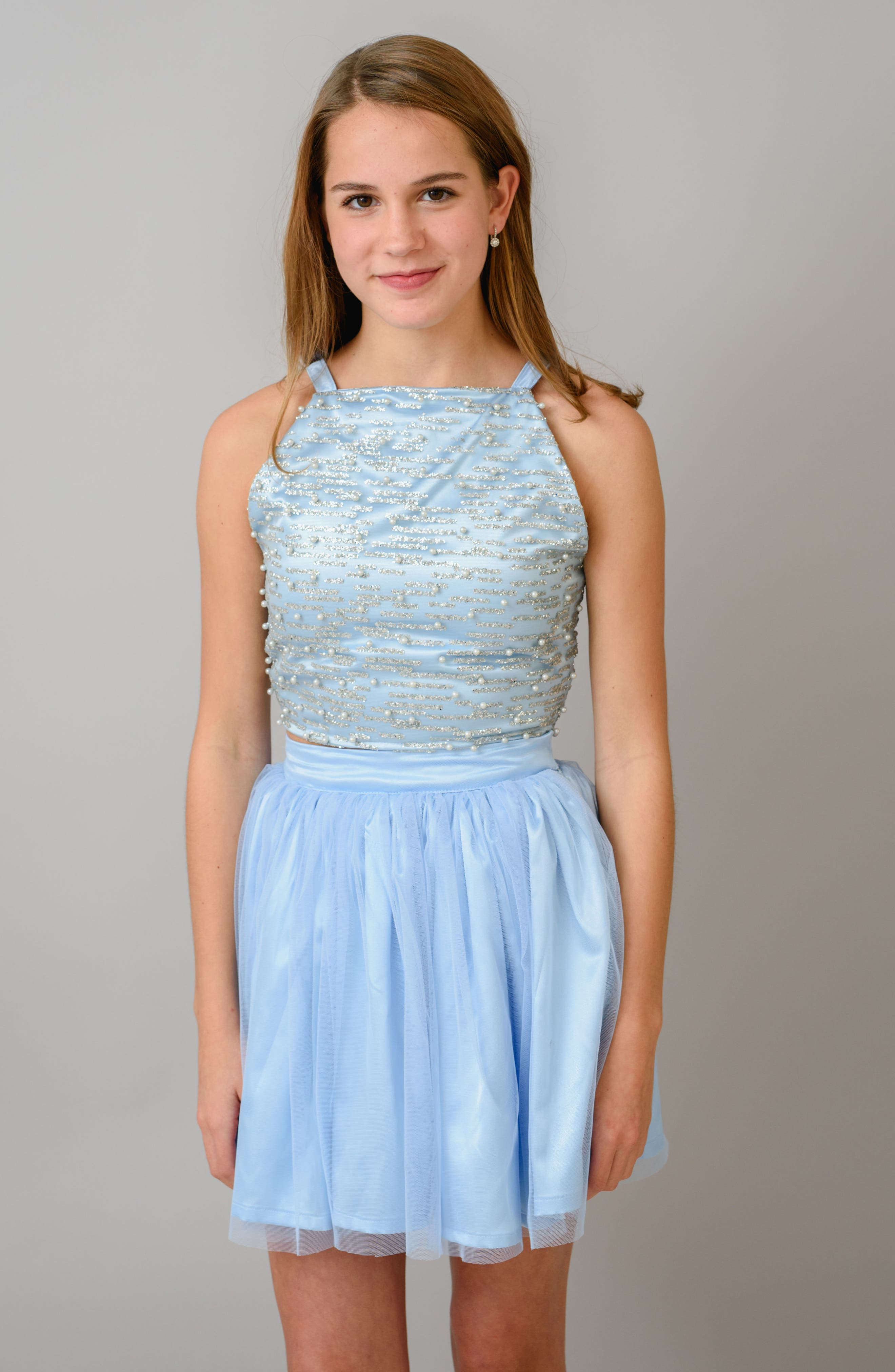 Stella M'Lia Two-Piece Beaded Tulle Dress,                             Alternate thumbnail 7, color,                             PALE BLUE