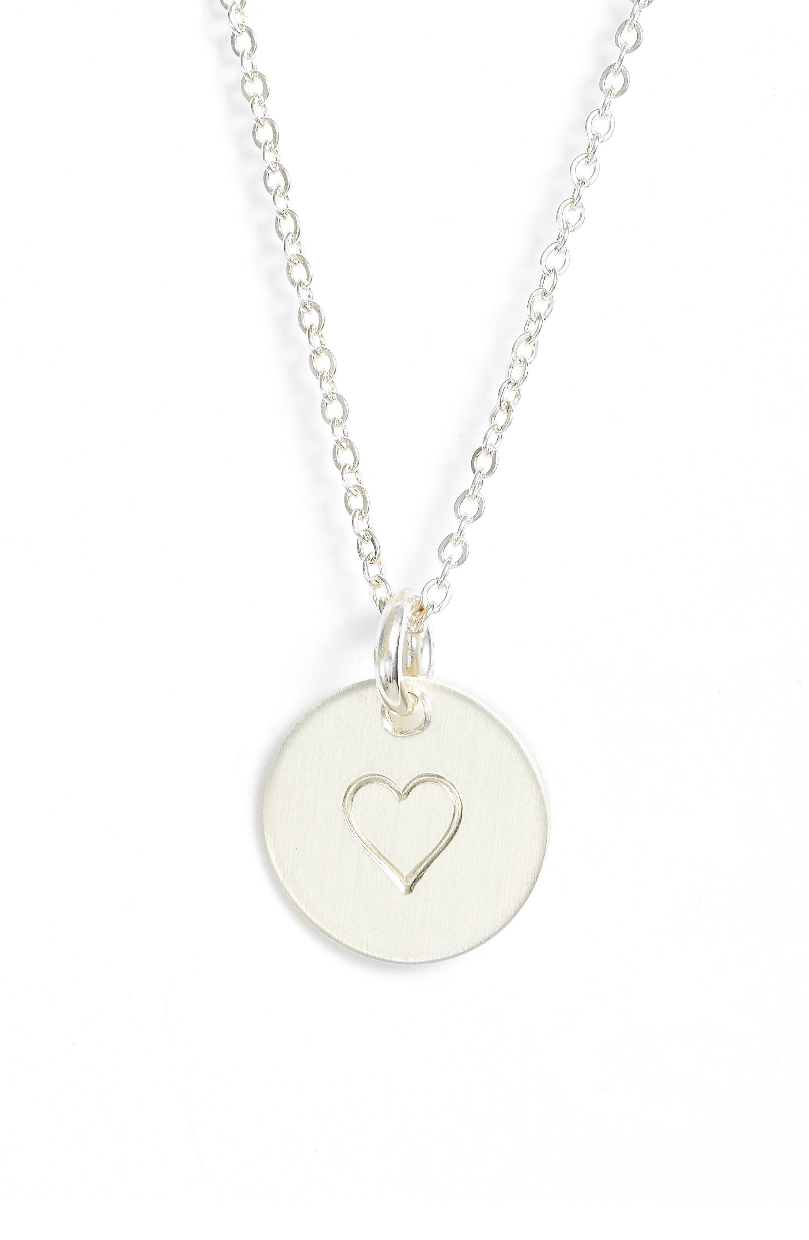 Heart Stamped Disc Necklace,                         Main,                         color, 040