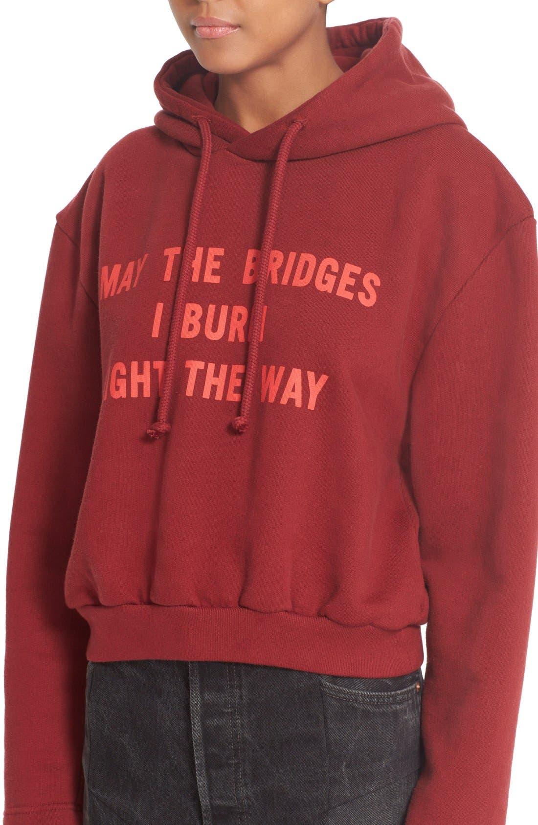 VETEMENTS,                             May the Bridges I Burn Light the Way Football Shoulder Hoodie,                             Alternate thumbnail 6, color,                             930