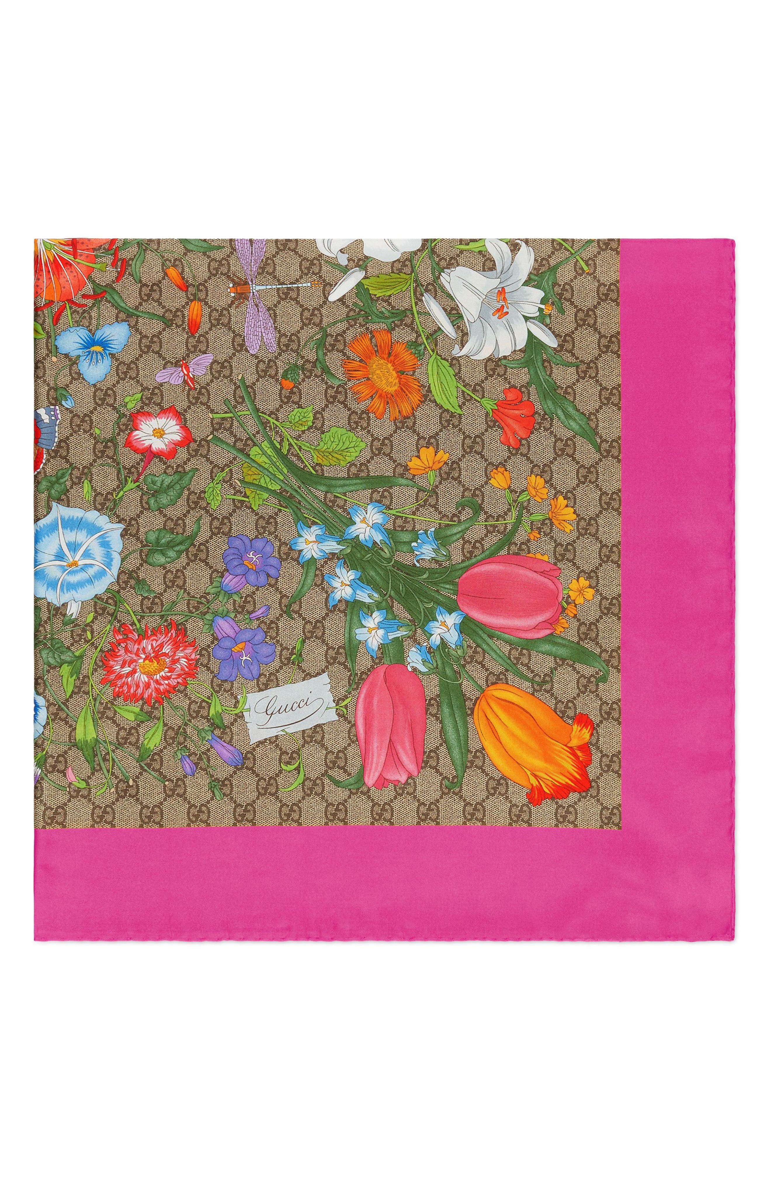 GG Flora Fluorescent Border Silk Scarf,                             Alternate thumbnail 2, color,                             BEIGE/ PINK