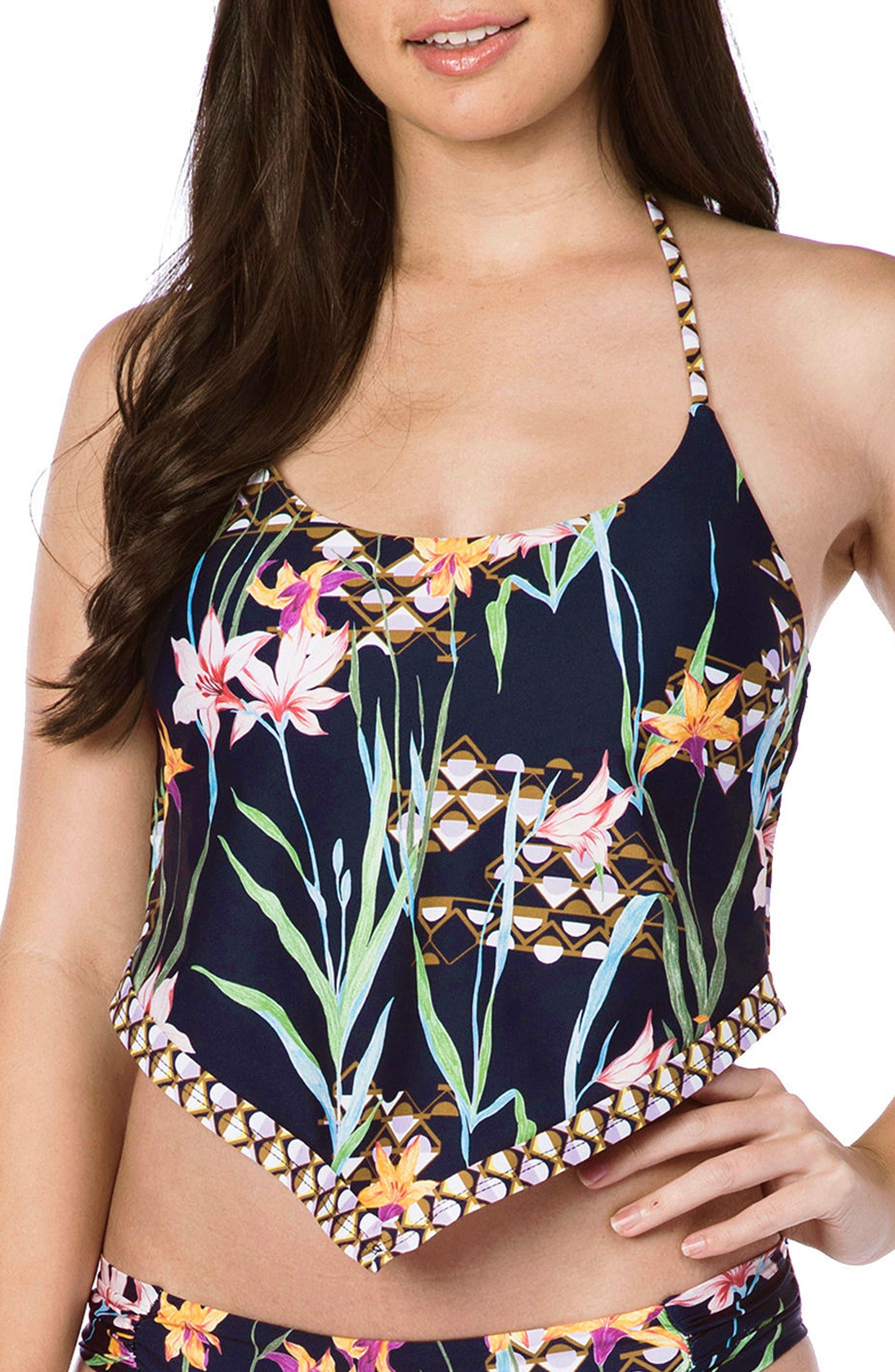 Fiji Floral Tankini Top,                         Main,                         color, 409