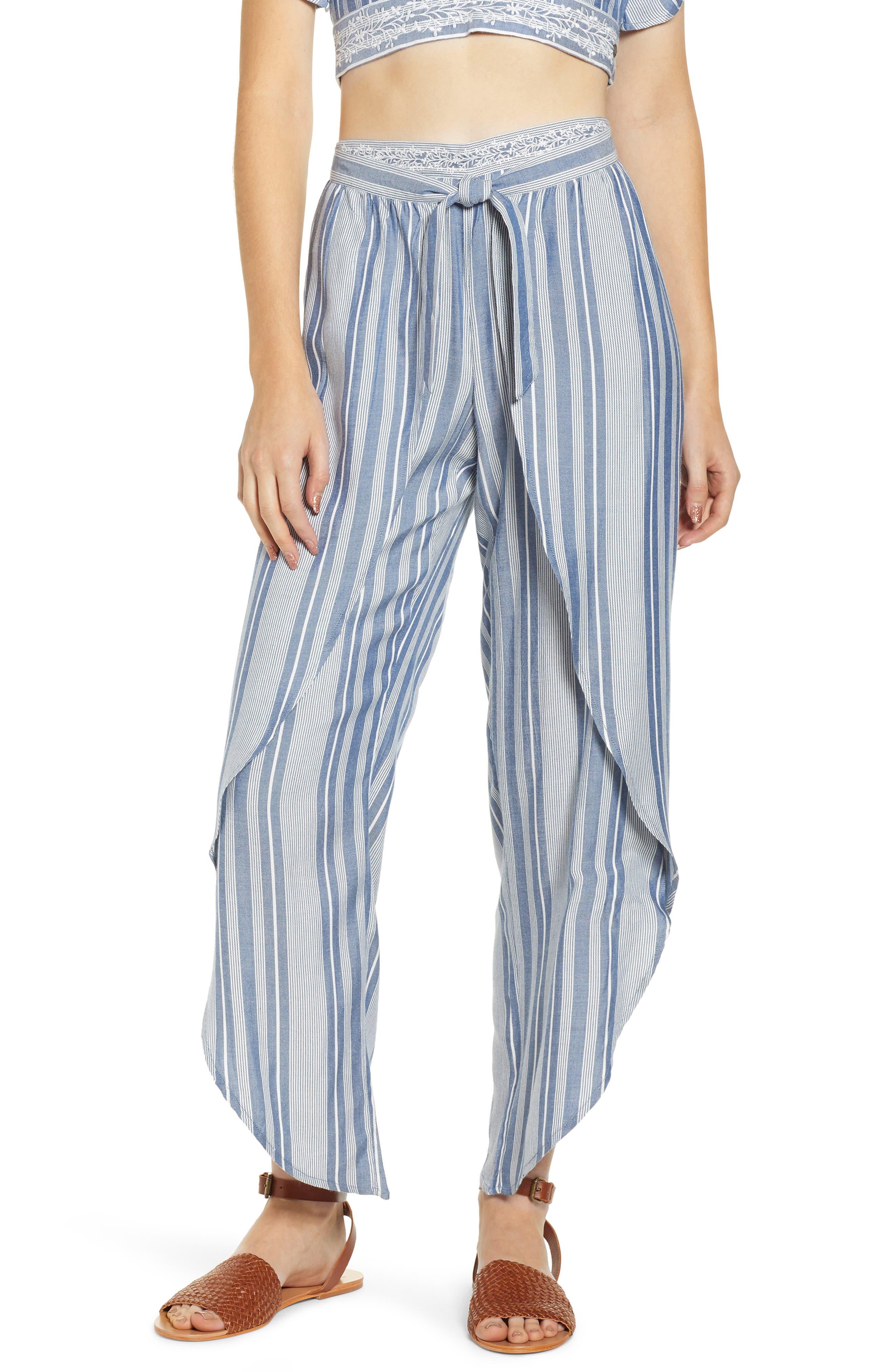 Jessa Stripe Tulip Hem Pants,                             Main thumbnail 1, color,                             MARSHMALLOW EMBROIDERED FLORAL