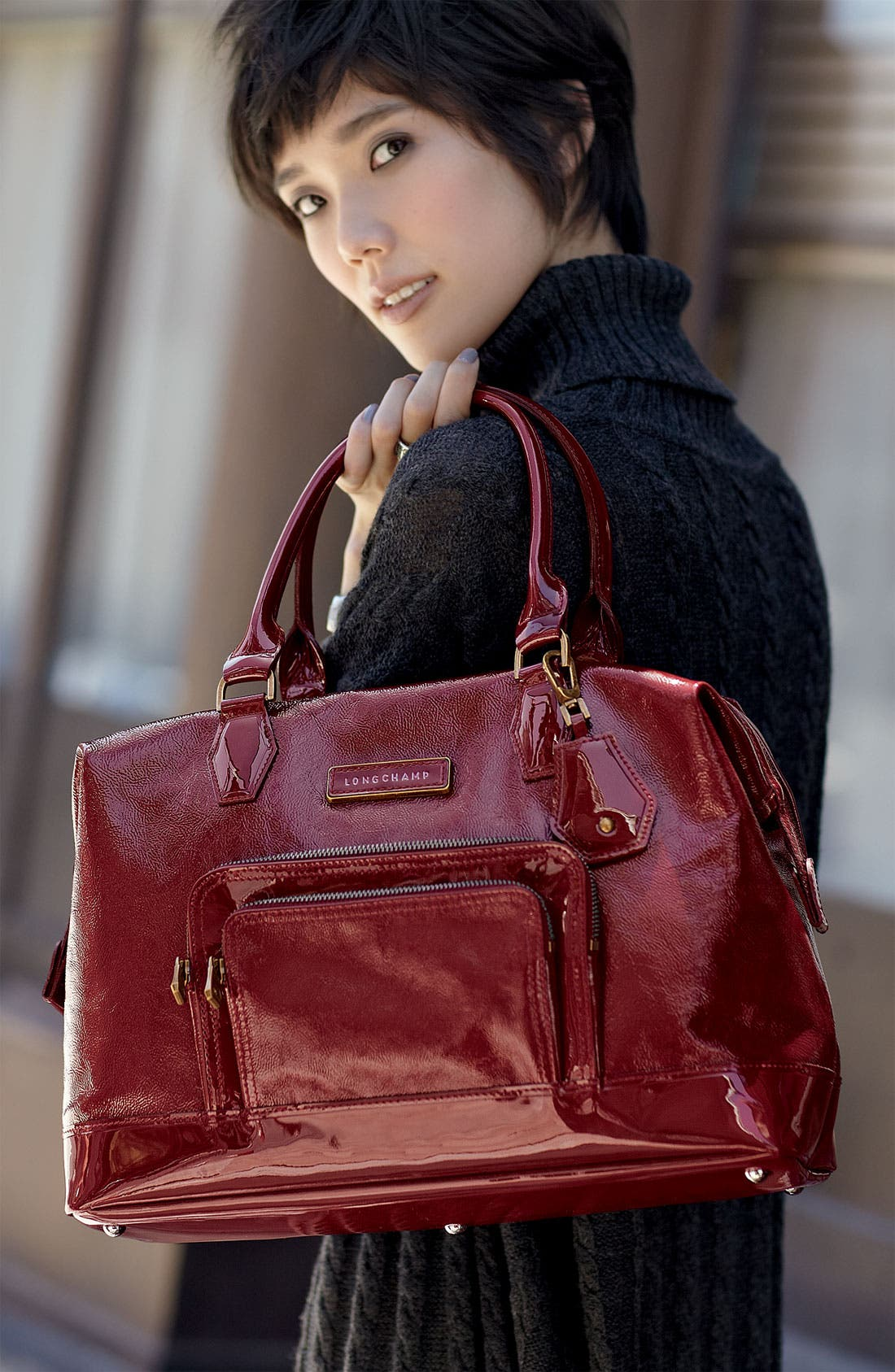 LONGCHAMP,                             'Legende Verni' Patent Calfskin Satchel,                             Alternate thumbnail 5, color,                             601