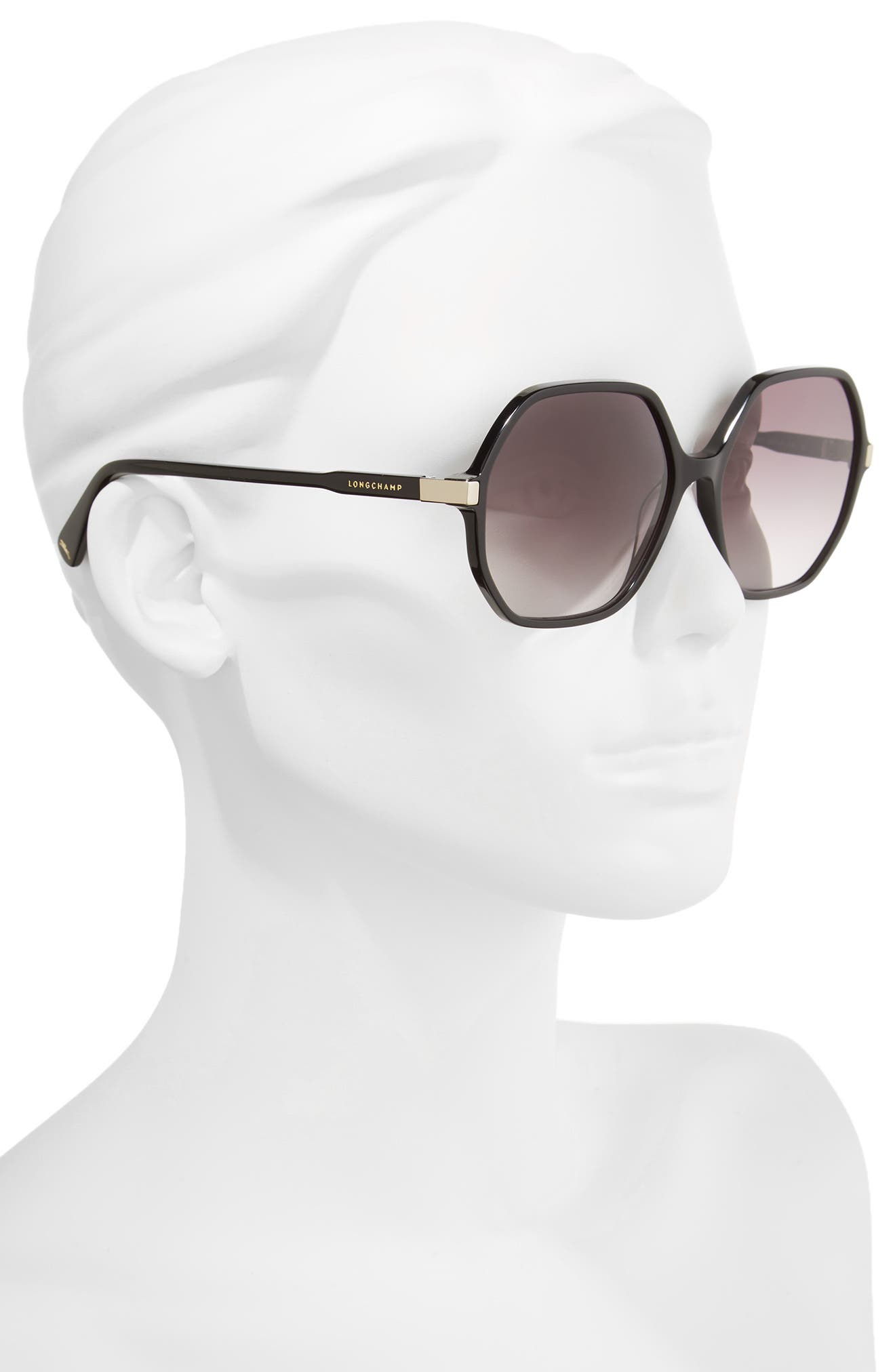 59mm Gradient Lens Hexagonal Sunglasses,                             Alternate thumbnail 2, color,                             BLACK