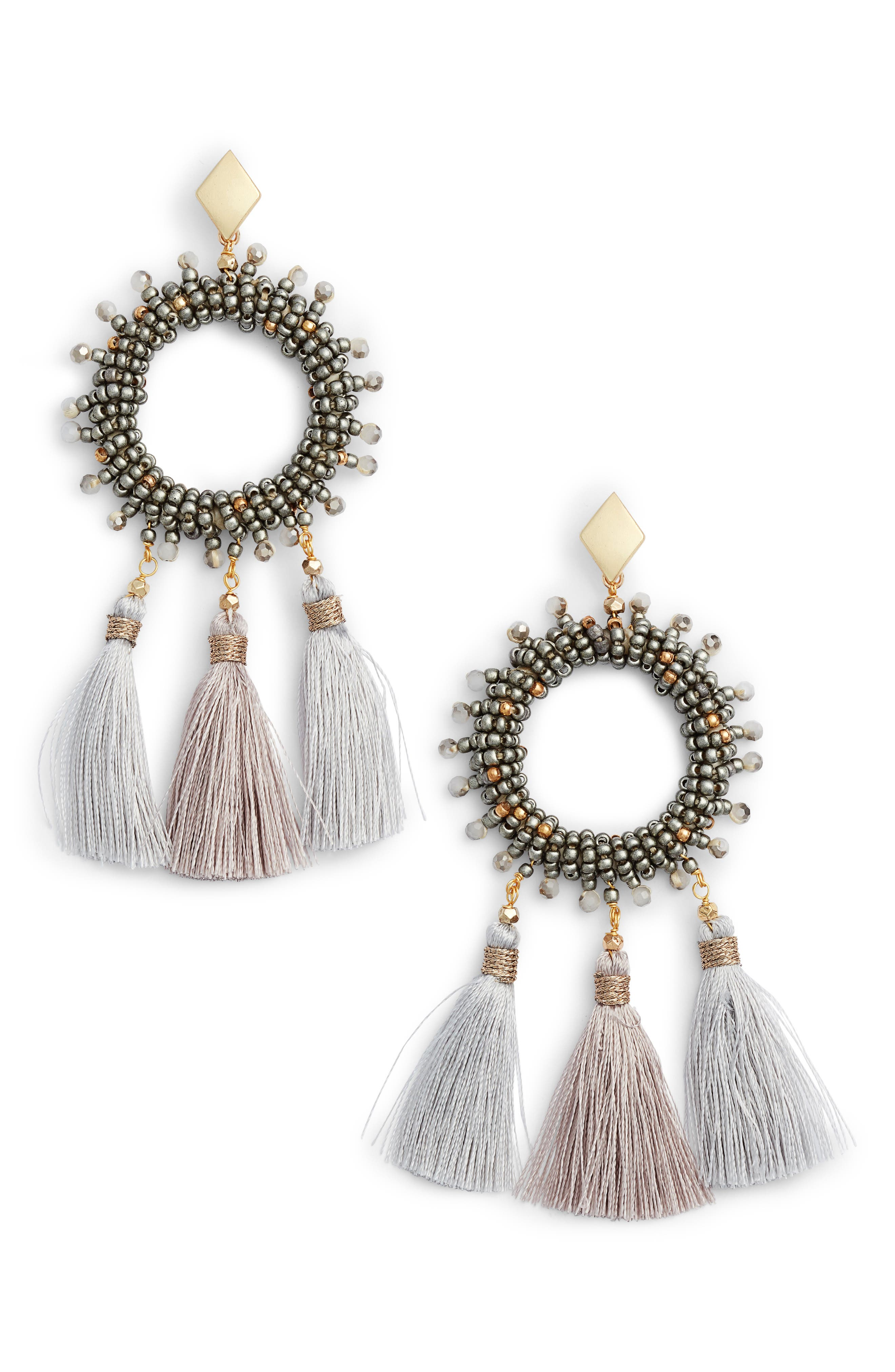 Small Tassel Drop Earrings,                             Main thumbnail 1, color,                             020