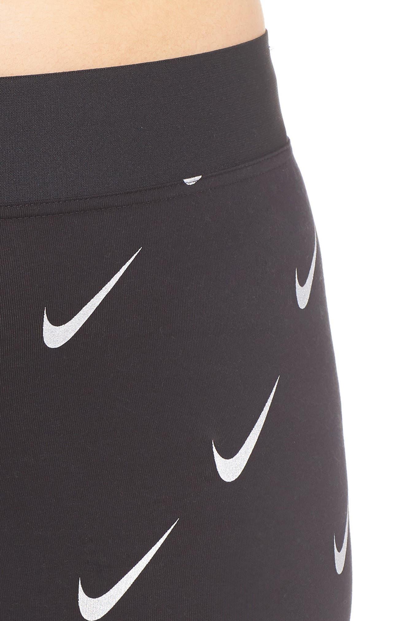 Sportswear Leg-A-See High Rise Print Leggings,                             Alternate thumbnail 4, color,                             BLACK