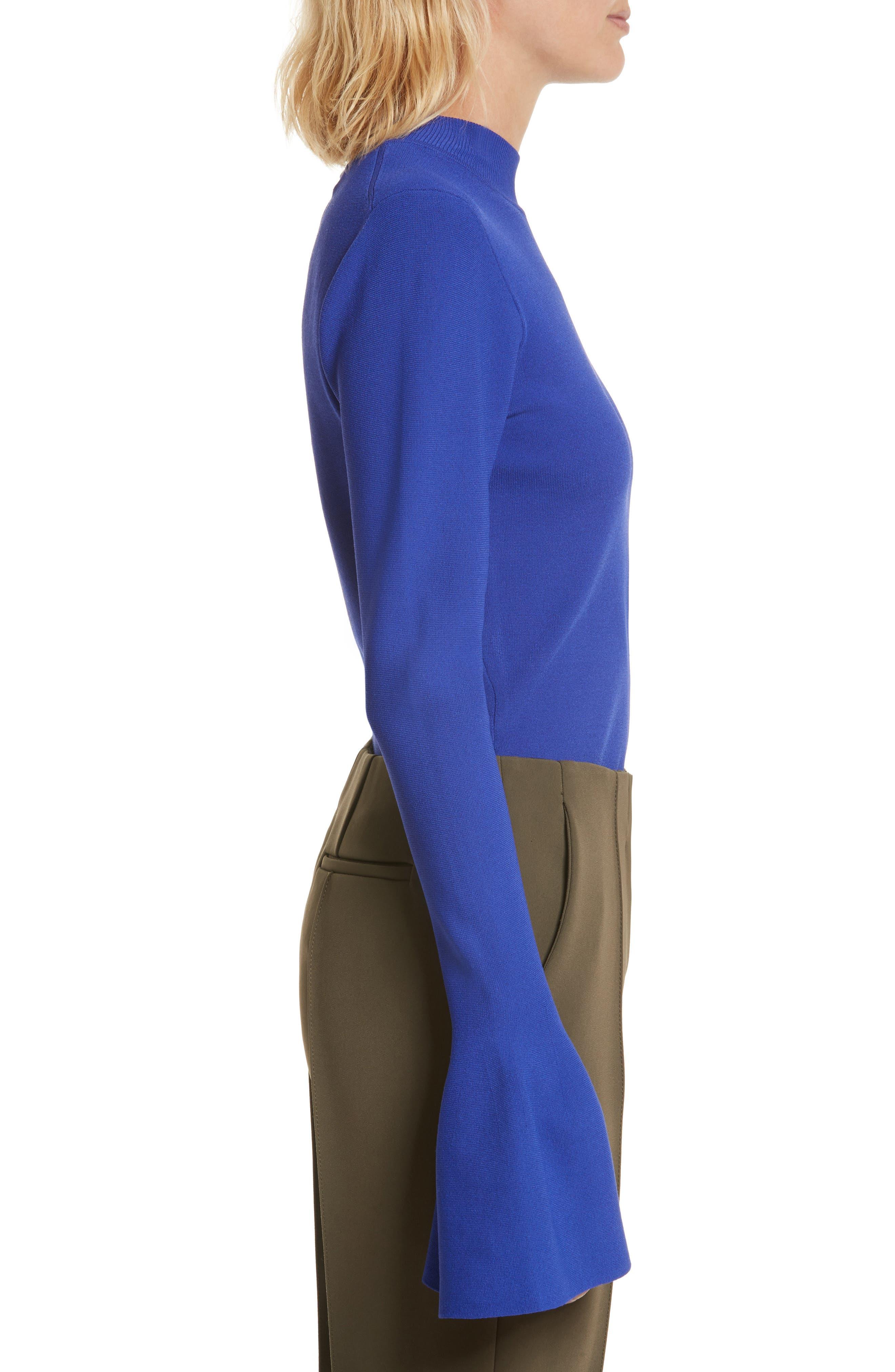 Diane von Furstenberg Flutter Sleeve Mock Neck Sweater,                             Alternate thumbnail 3, color,                             498