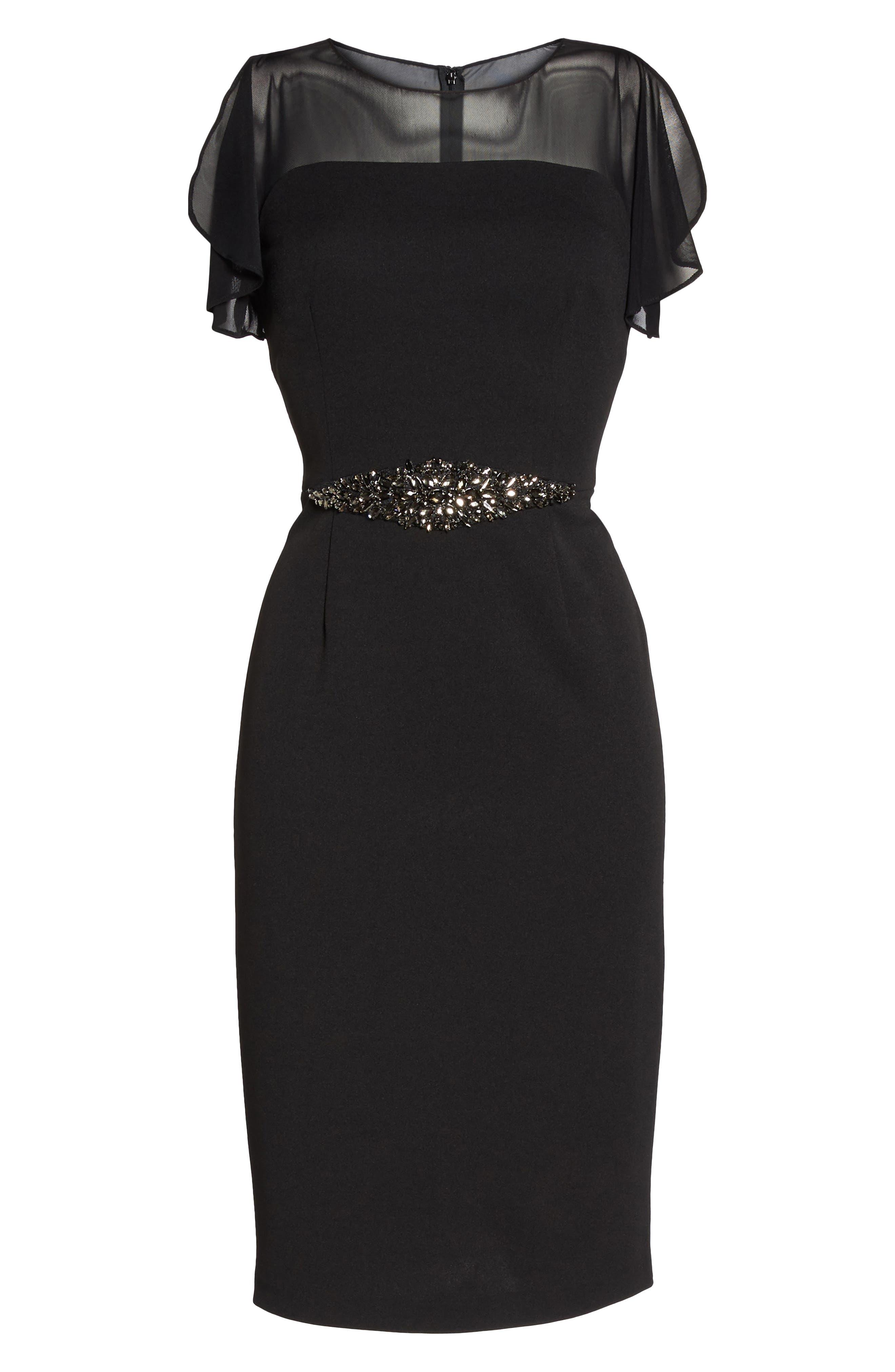 Embellished Crepe Sheath Dress,                             Alternate thumbnail 6, color,                             002