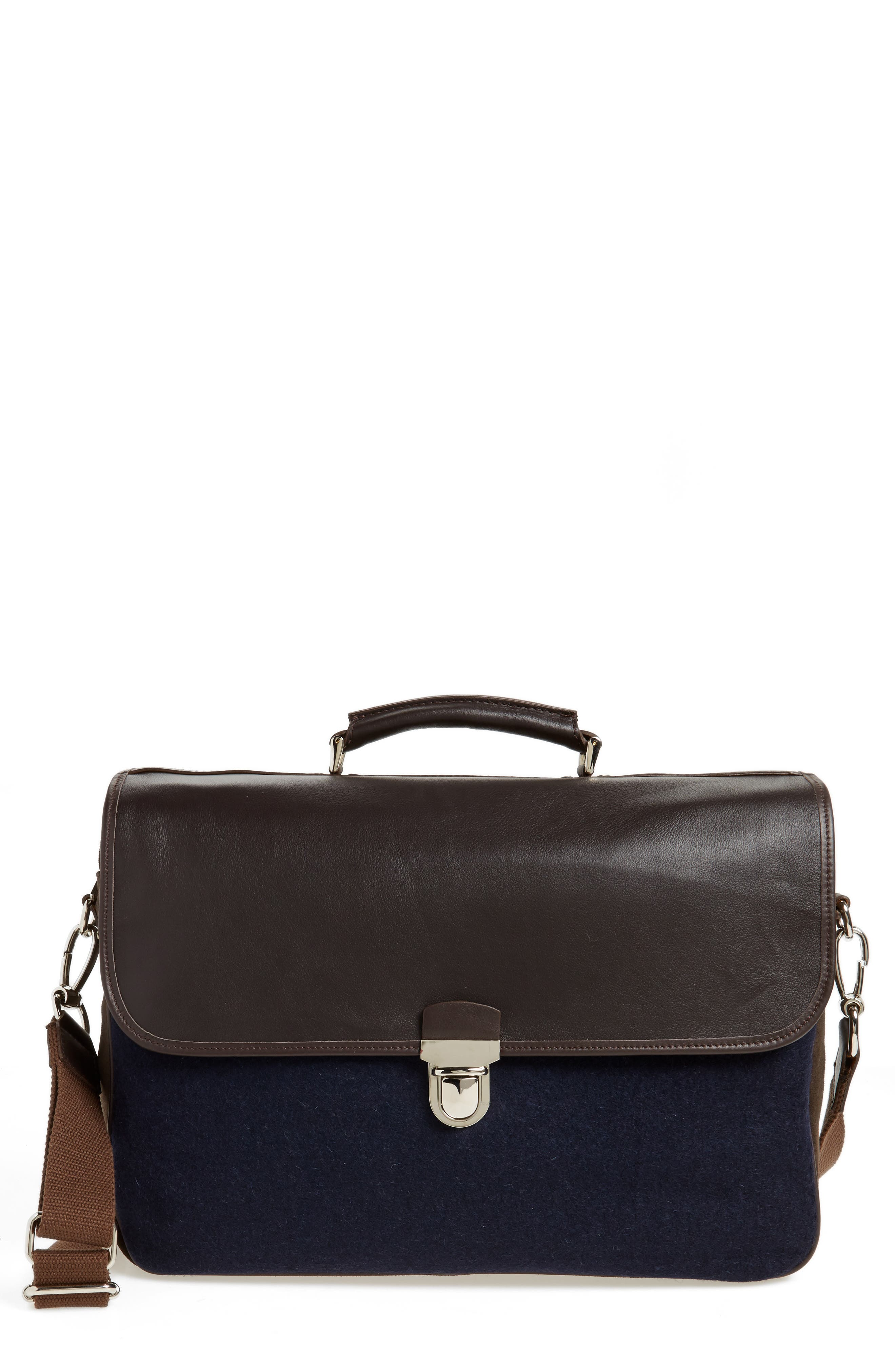 Leather & Wool Convertible Briefcase,                             Main thumbnail 1, color,                             205