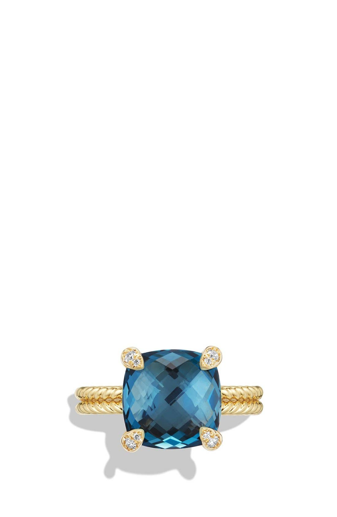 Châtelaine Ring with Hampton Blue Topaz and Diamonds in 18K Gold,                             Alternate thumbnail 5, color,                             HAMPTON BLUE TOPAZ