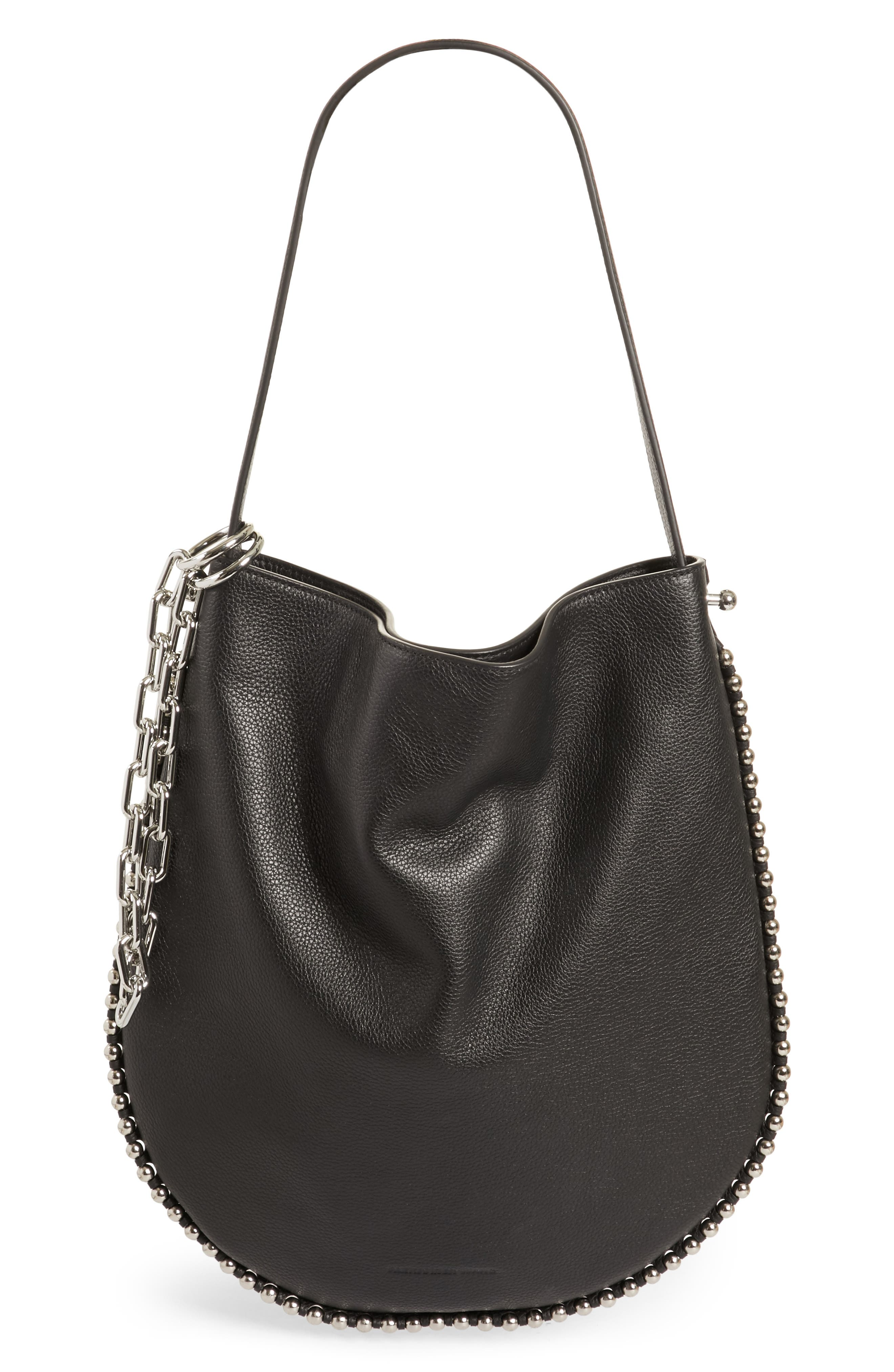 Roxy Leather Hobo,                         Main,                         color, BLACK