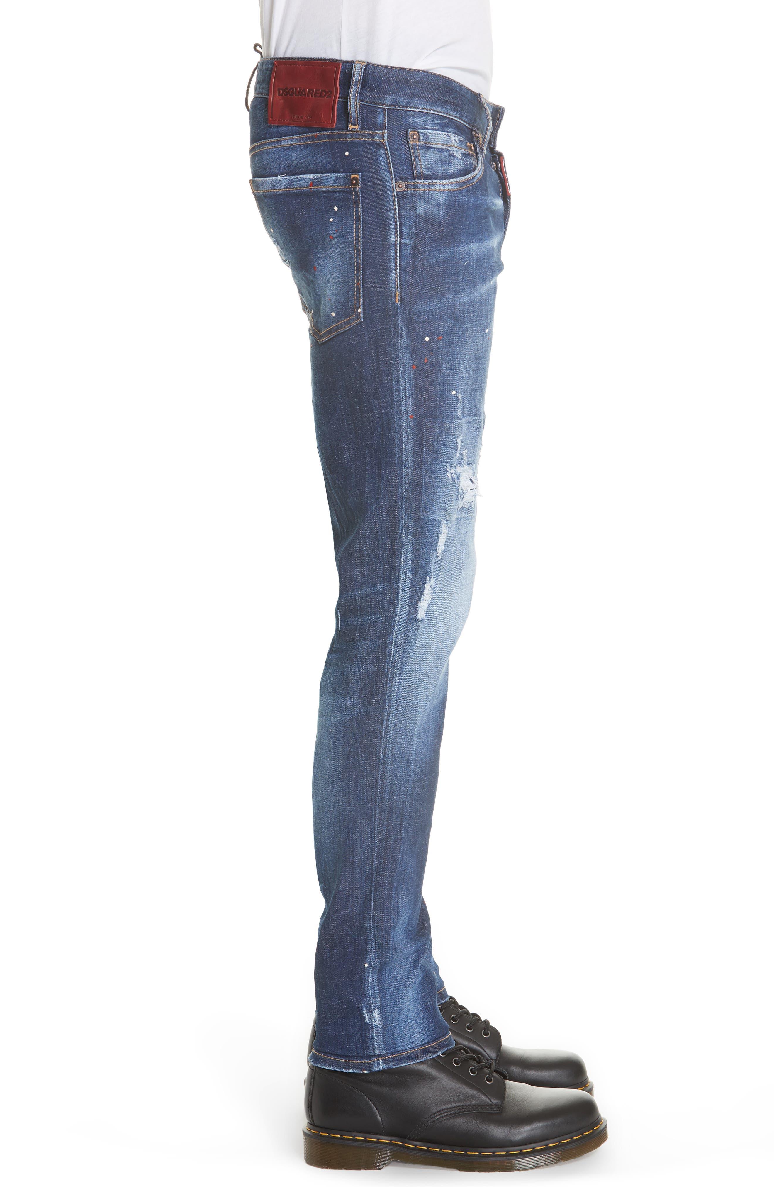 Paint Splatter Slim Fit Jeans,                             Alternate thumbnail 3, color,                             400