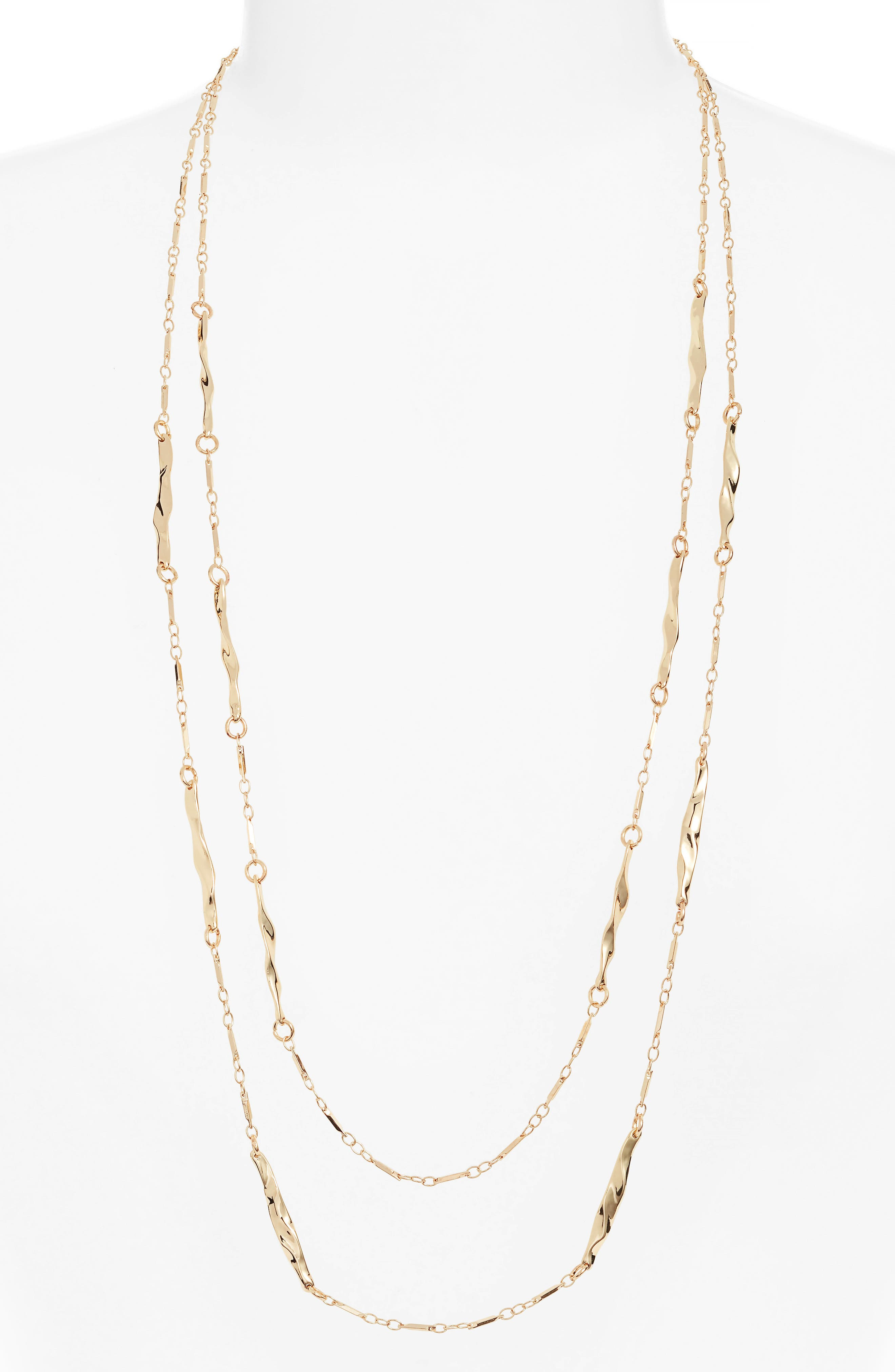 Double Strand Station Necklace,                         Main,                         color, GOLD