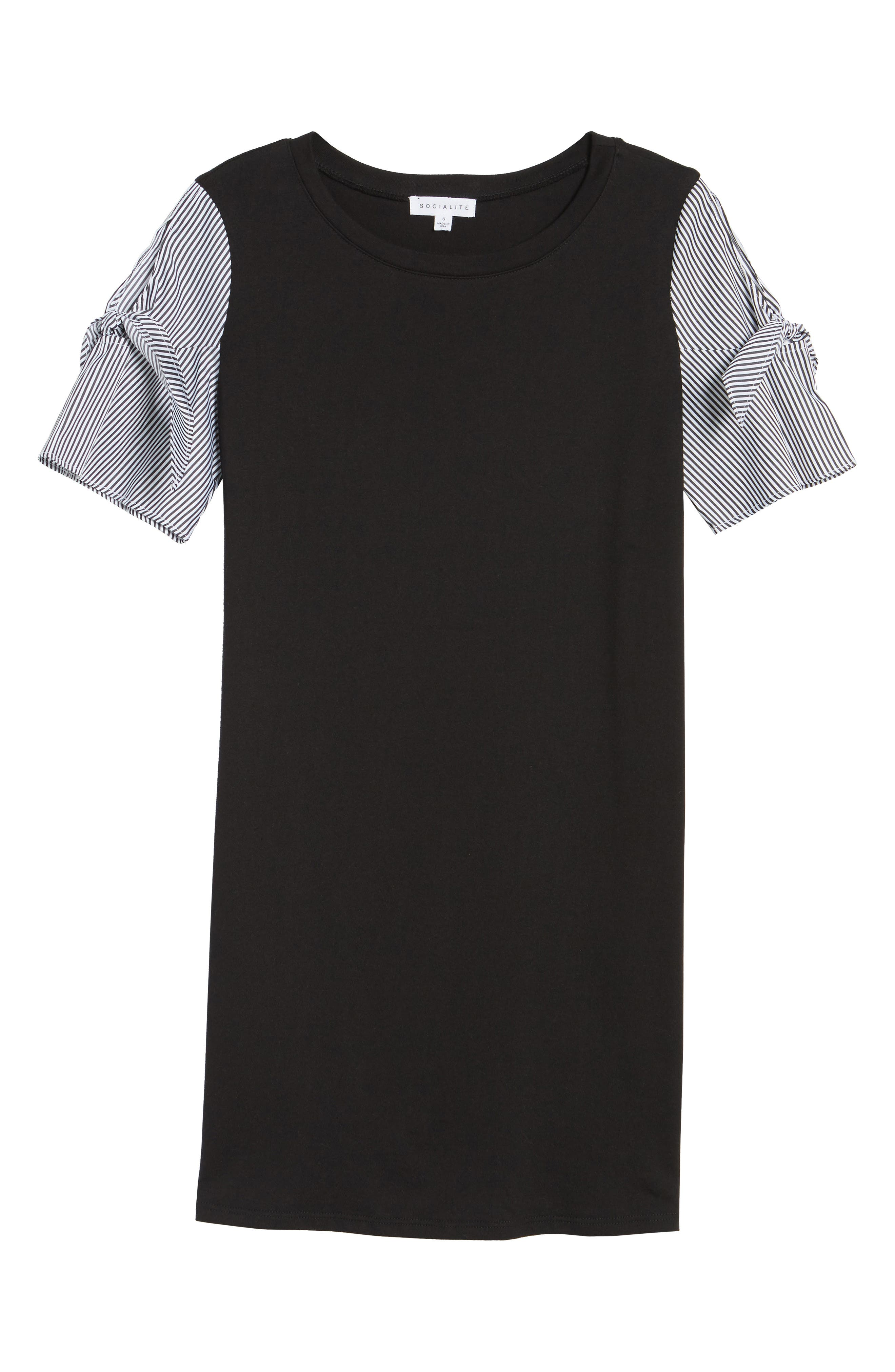 Poplin Sleeve Knit Dress,                             Alternate thumbnail 6, color,                             001
