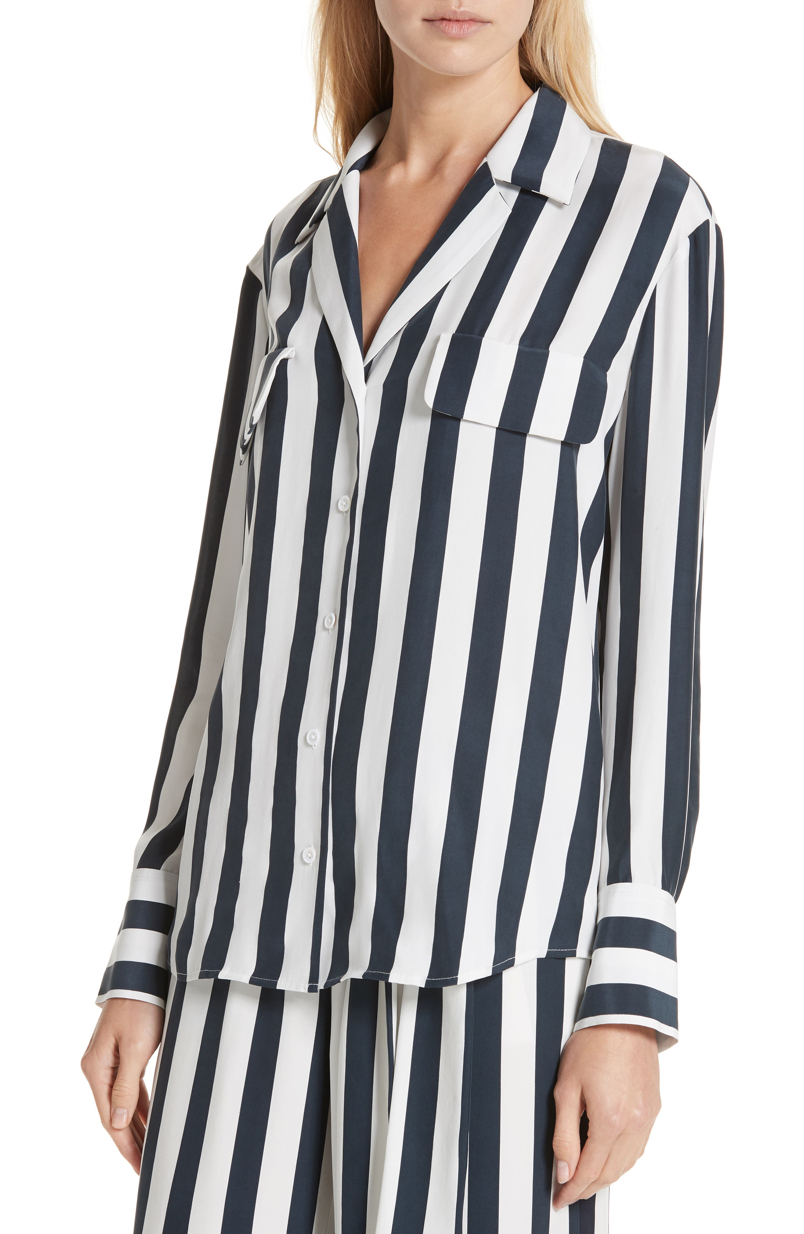 Stripe Silk Shirt,                             Alternate thumbnail 4, color,                             NAVY MULTI